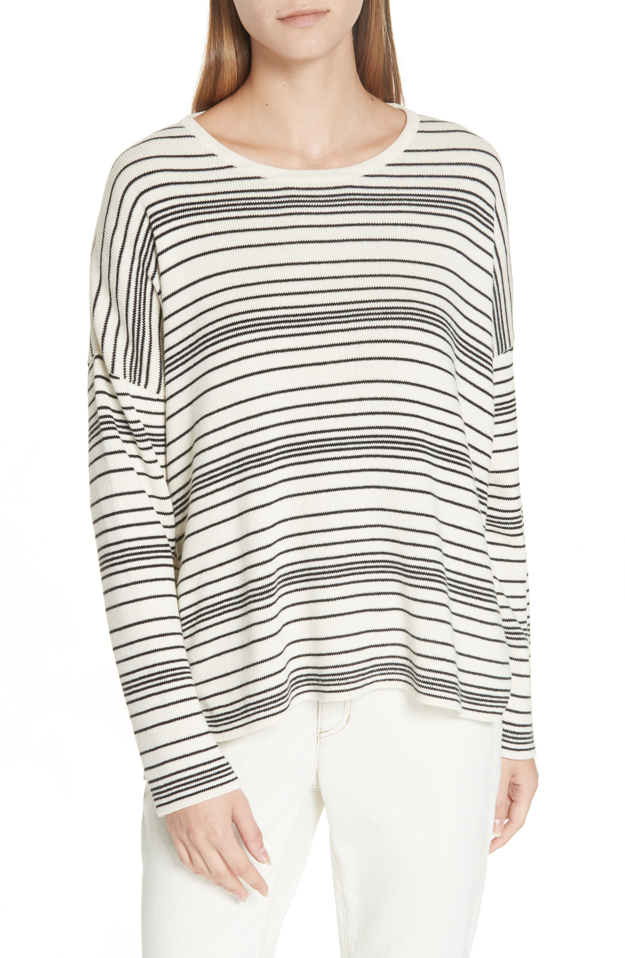 Stripe Organic Cotton Sweater,                             Main thumbnail 1, color,                             SOFT WHITE/ BLACK