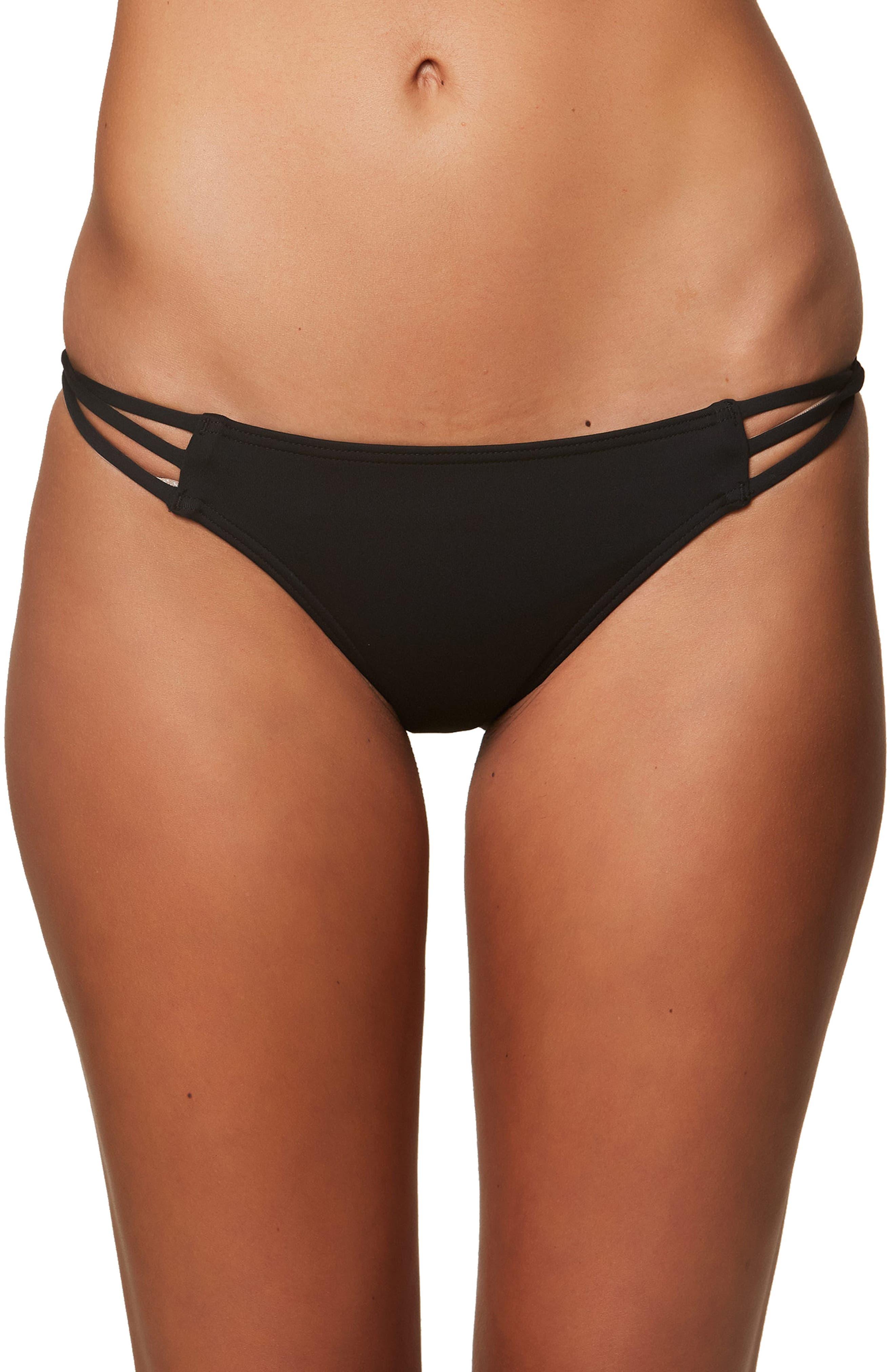 Salt Water Solids Strappy Bikini Bottoms,                         Main,                         color, BLACK