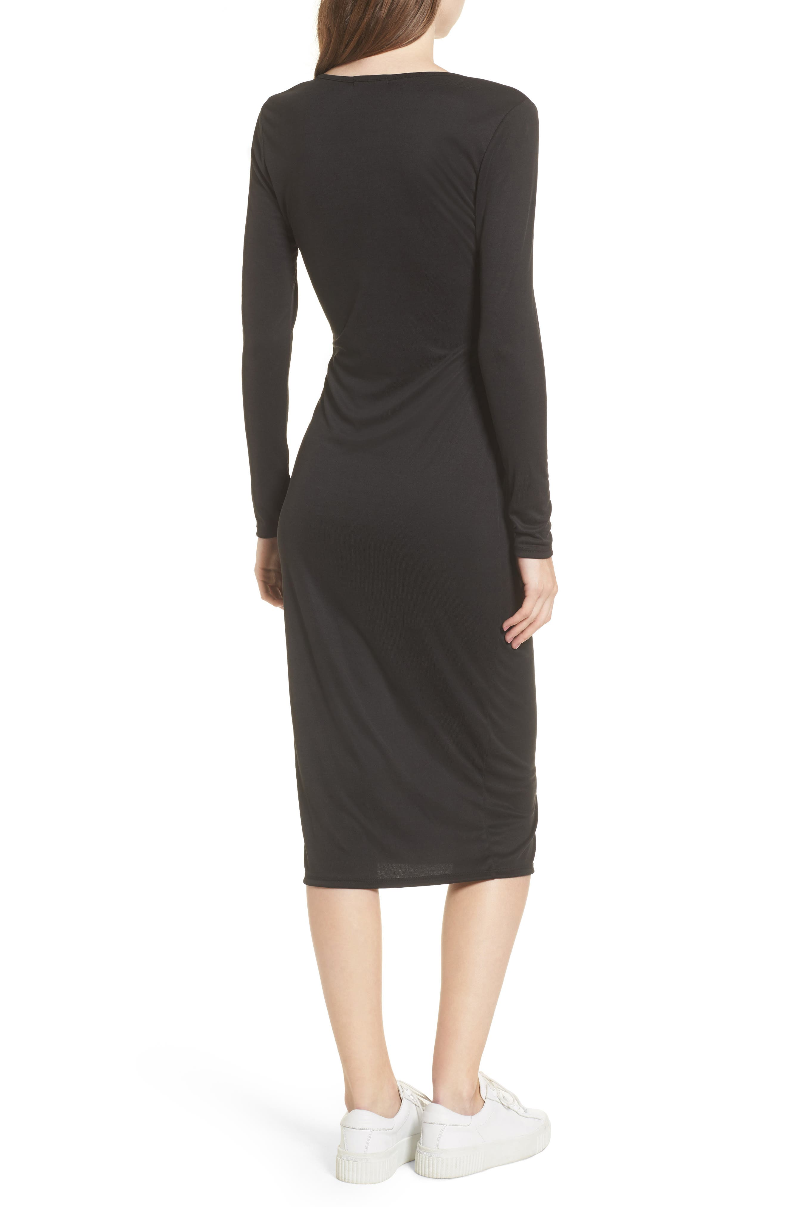 Snap Front Henley Dress,                             Alternate thumbnail 2, color,                             001