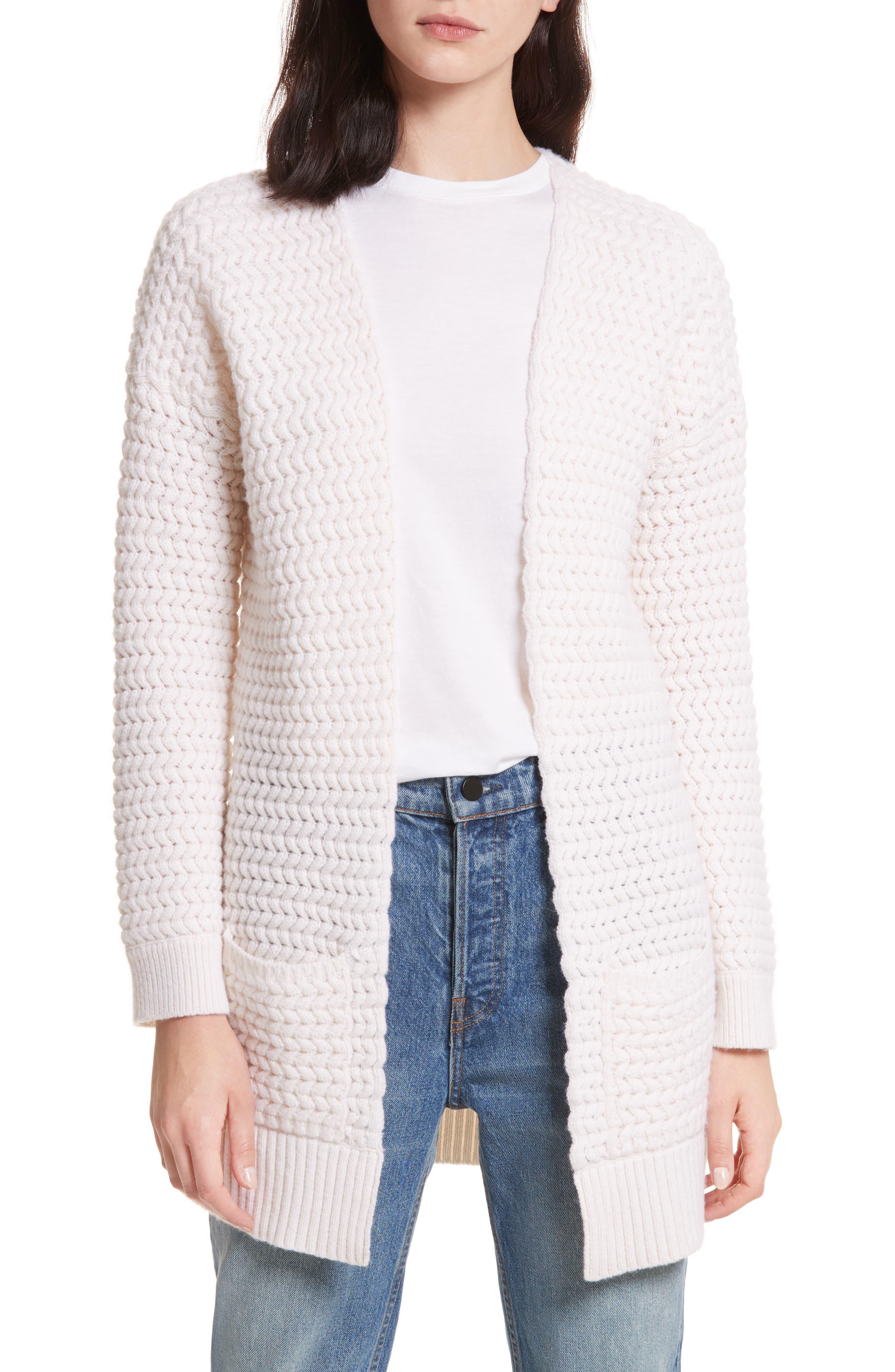 Wavy Knit Merino Wool & Cashmere Cardigan,                             Main thumbnail 1, color,                             905