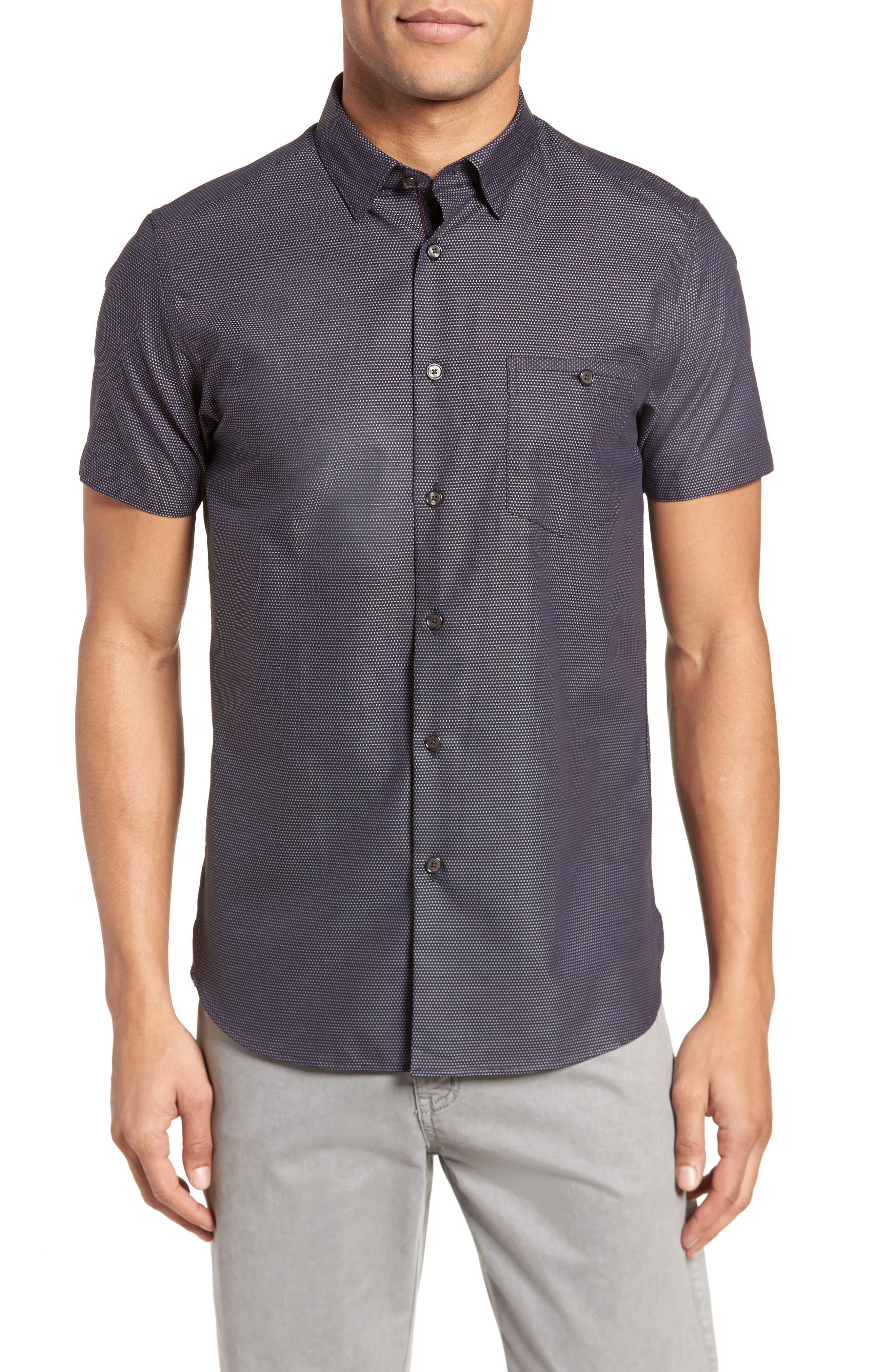 Dotdots Trim Fit Dot Short Sleeve Sport Shirt,                             Main thumbnail 1, color,                             001