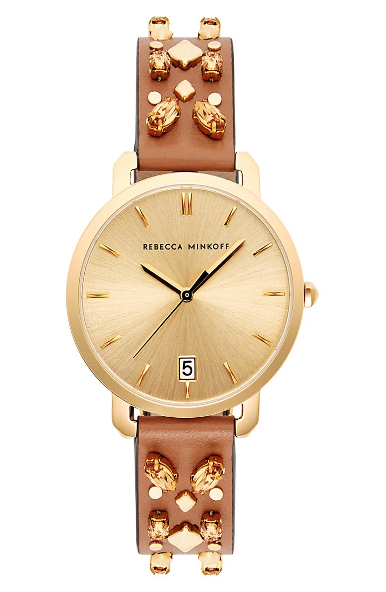 Rebecca Minkoff BILLIE STUDDED LEATHER STRAP WATCH, 34MM