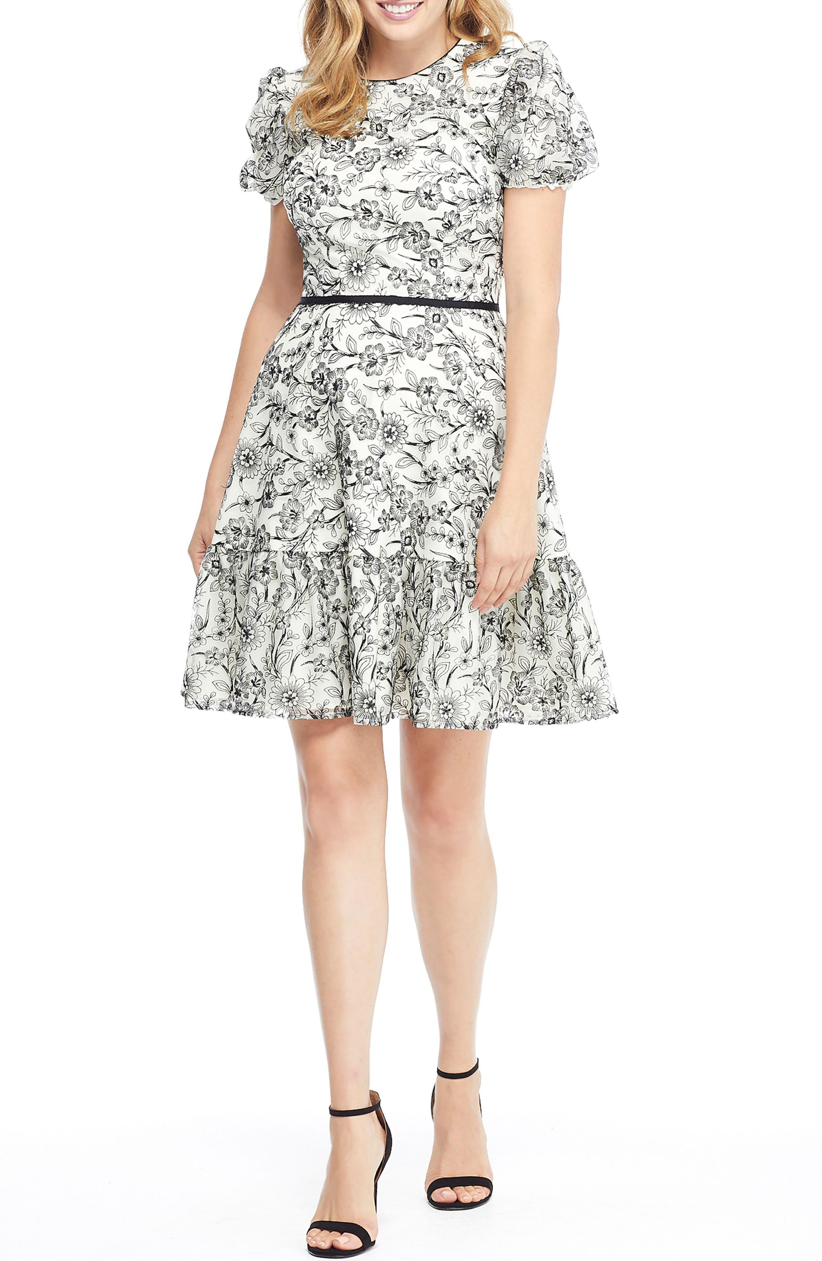 Viola Raffia Embroidery Pattern Dress,                             Main thumbnail 1, color,                             BLACK/ NUDE