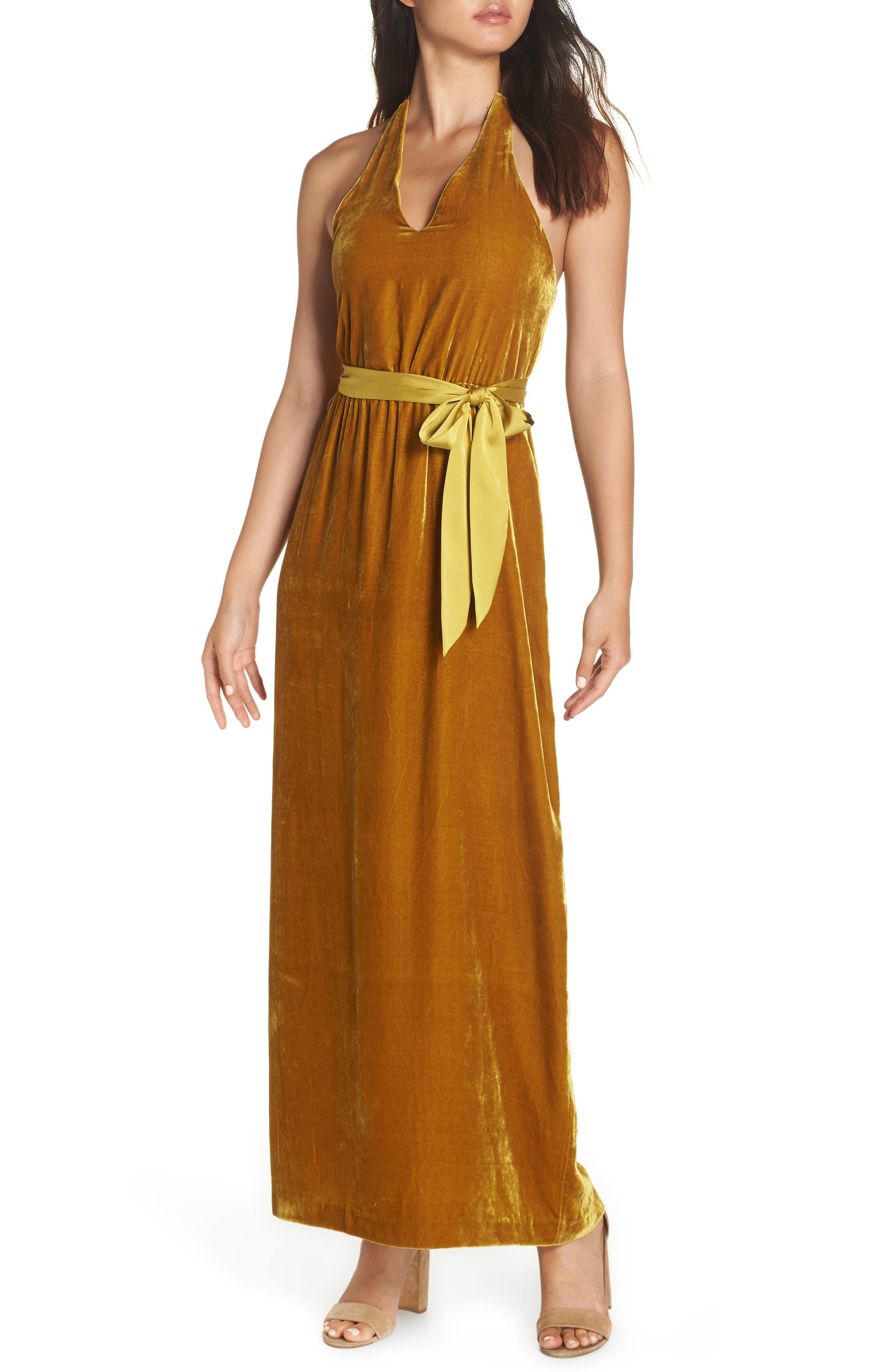 70s Dresses – Disco Dresses, Hippie Dresses, Wrap Dresses Womens Avec Les Filles Velvet Halter Maxi Dress Size 8 - Yellow $138.00 AT vintagedancer.com