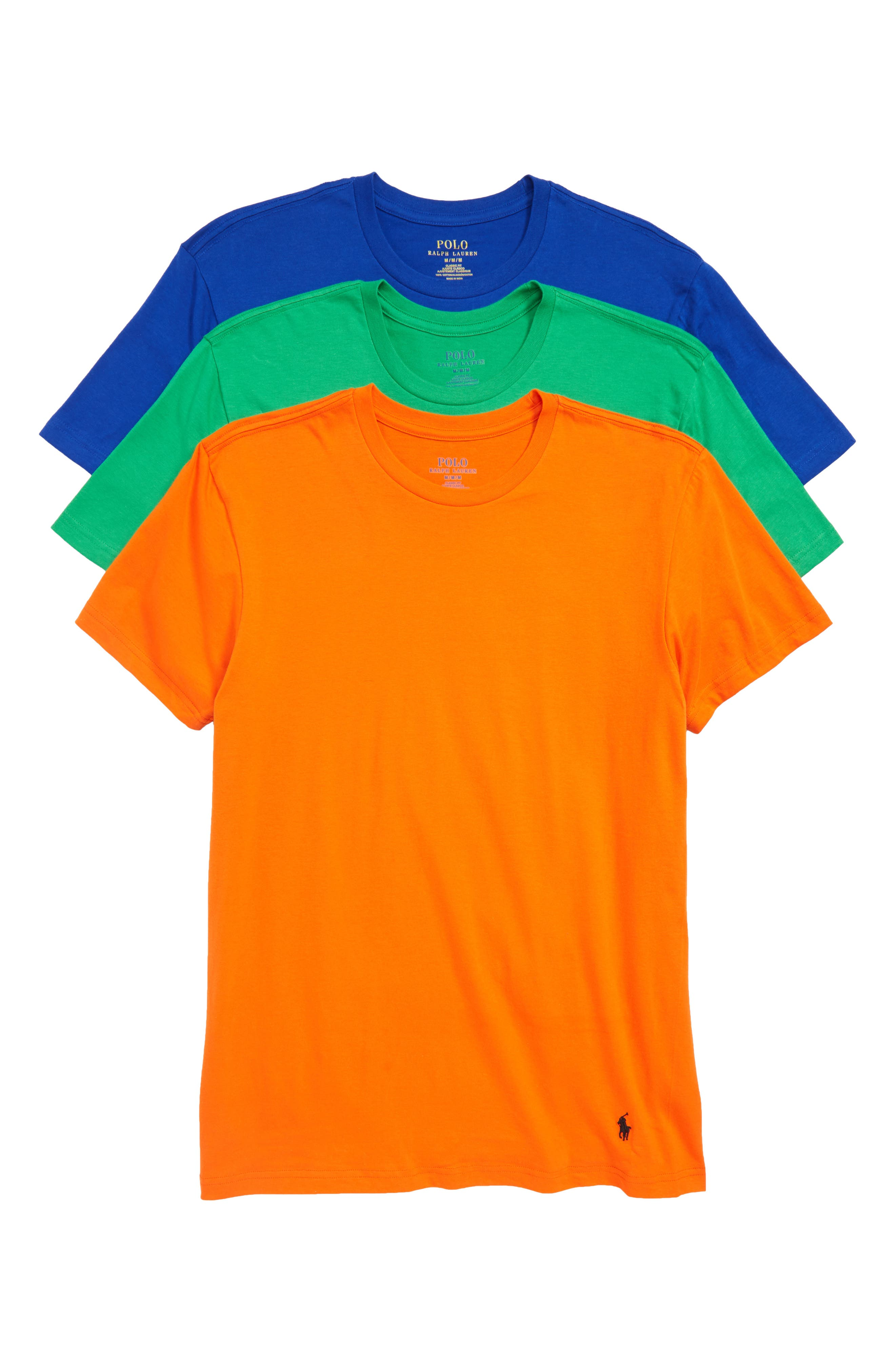 3-Pack Classic Fit T-Shirts,                         Main,                         color, ORANGE/ GREEN/ ROYAL
