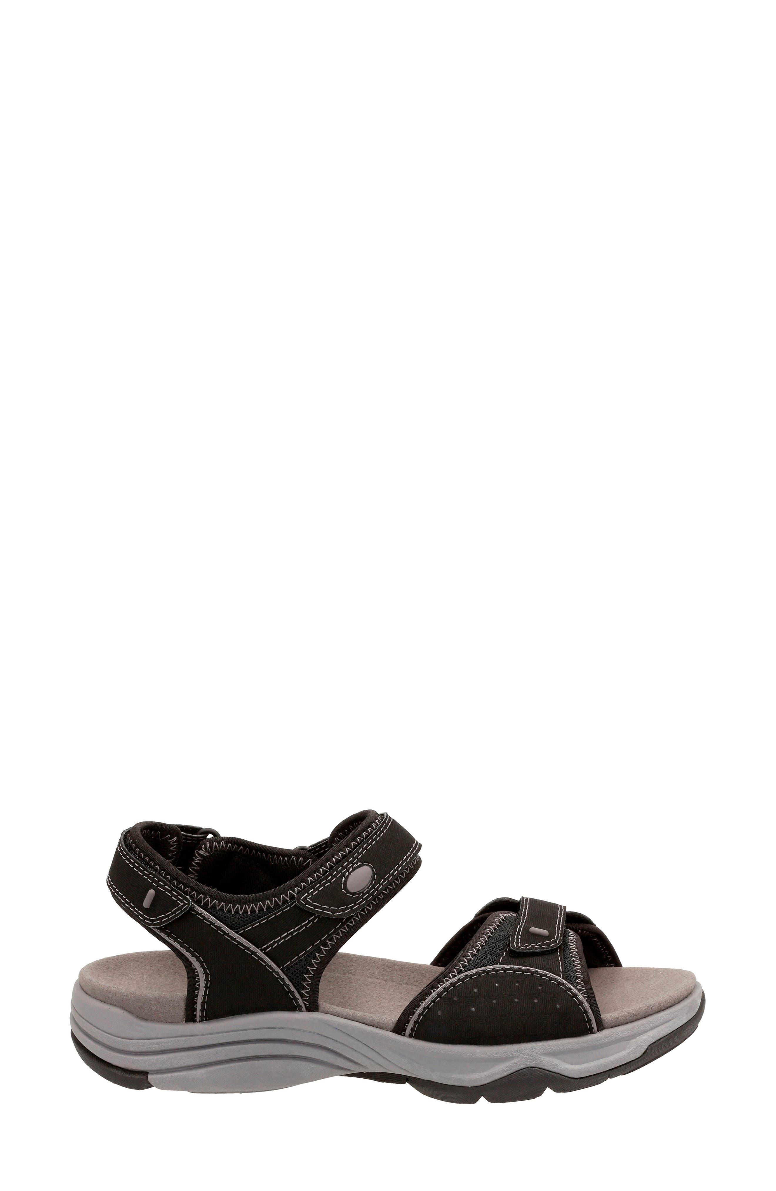 Wave Grip Sandal,                             Alternate thumbnail 3, color,                             BLACK FABRIC