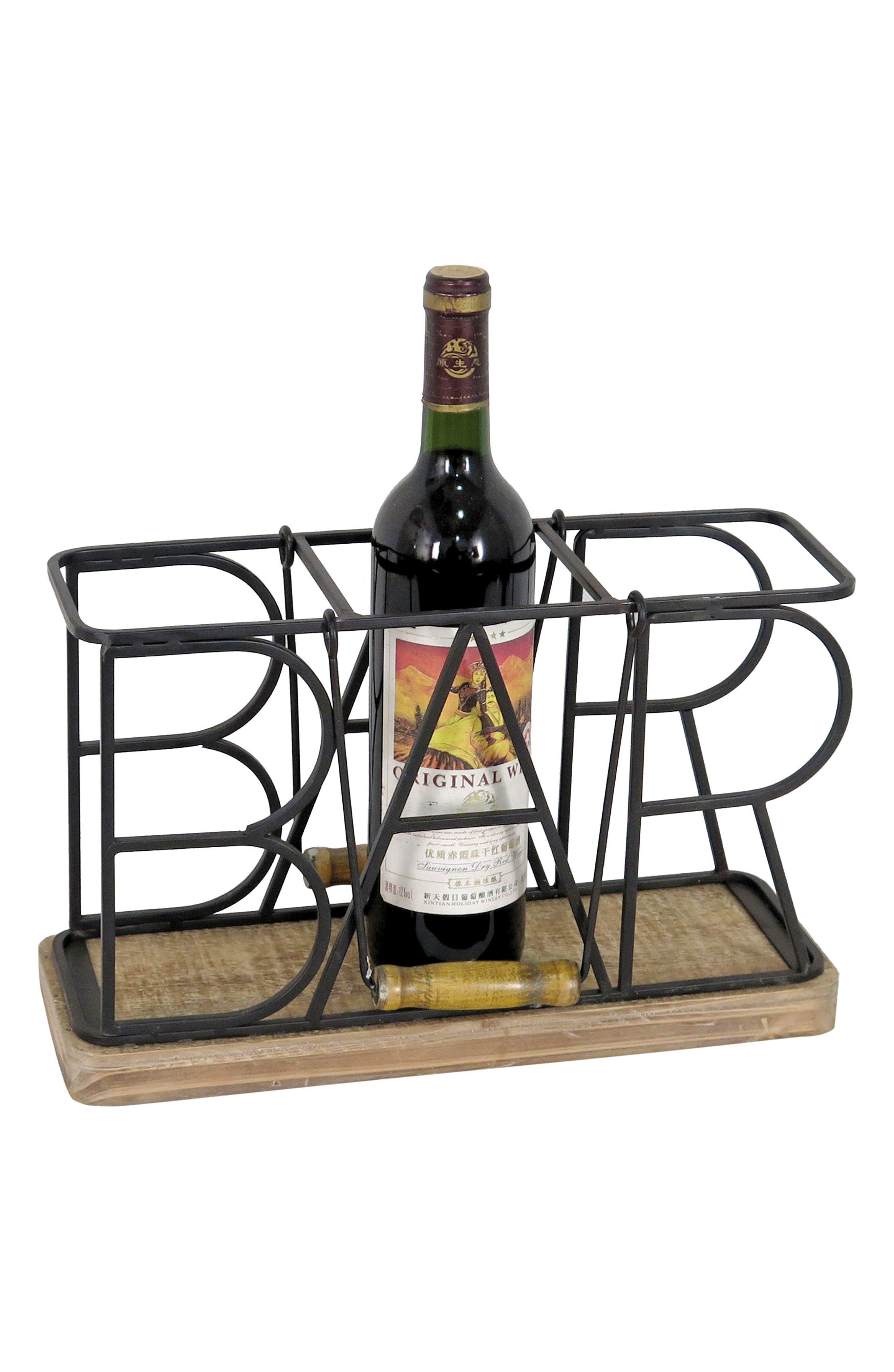 Bar 3-Bottle Caddy,                             Main thumbnail 1, color,                             METAL/ WOOD