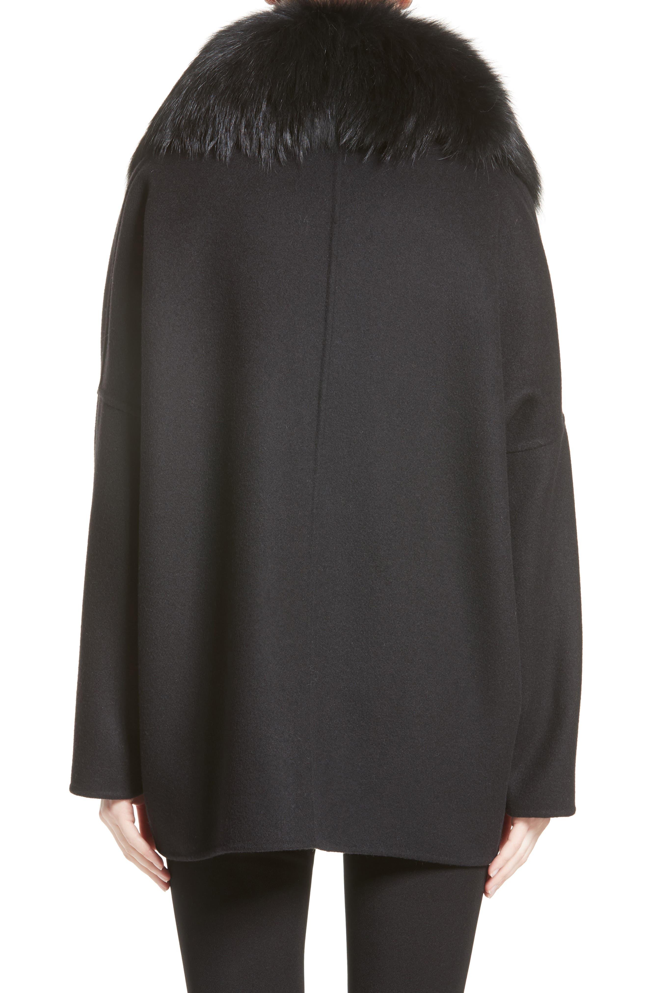 Buxus Wool & Cashmere Coat with Removable Genuine Fox Fur Trim Vest,                             Alternate thumbnail 2, color,                             001