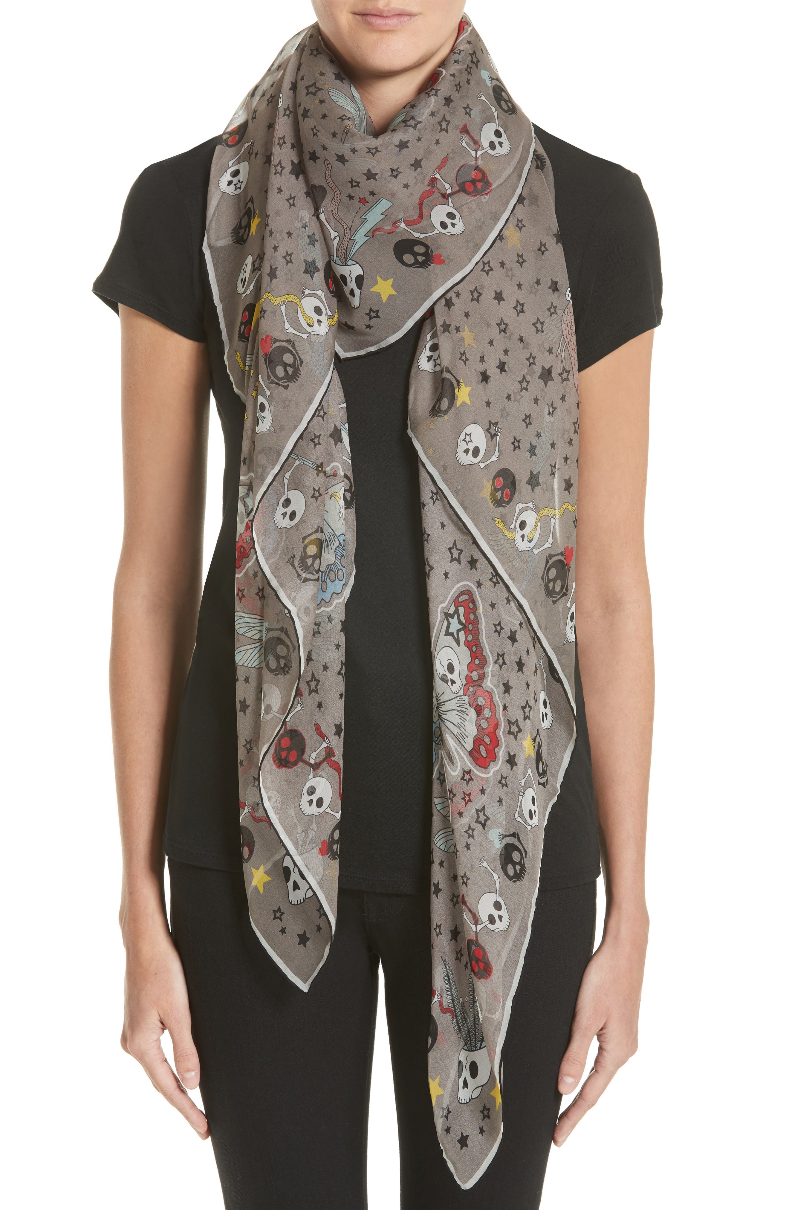 Party Skull Silk Scarf,                             Alternate thumbnail 2, color,                             020