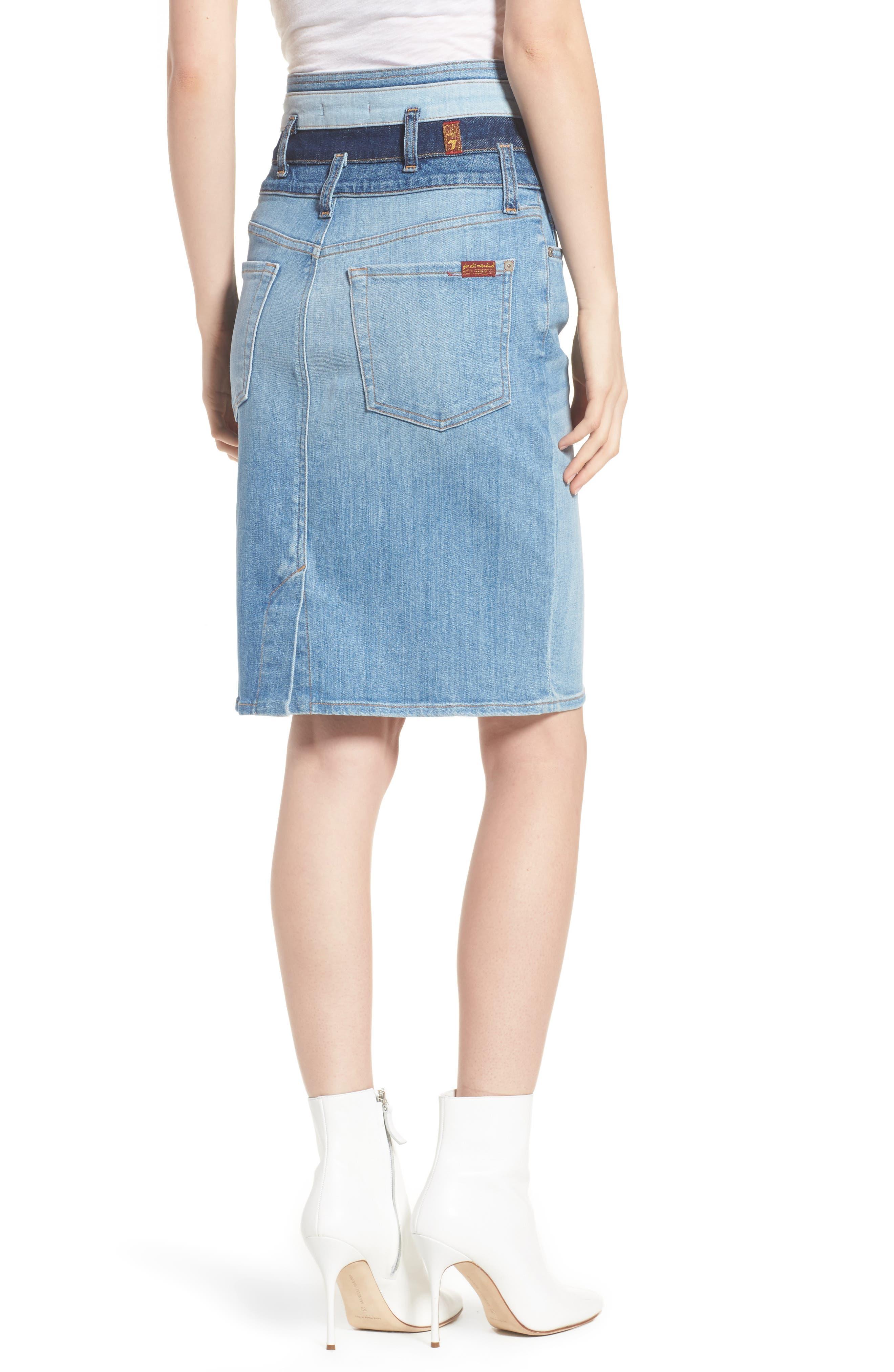 Patchwork Denim Skirt,                             Alternate thumbnail 2, color,                             400