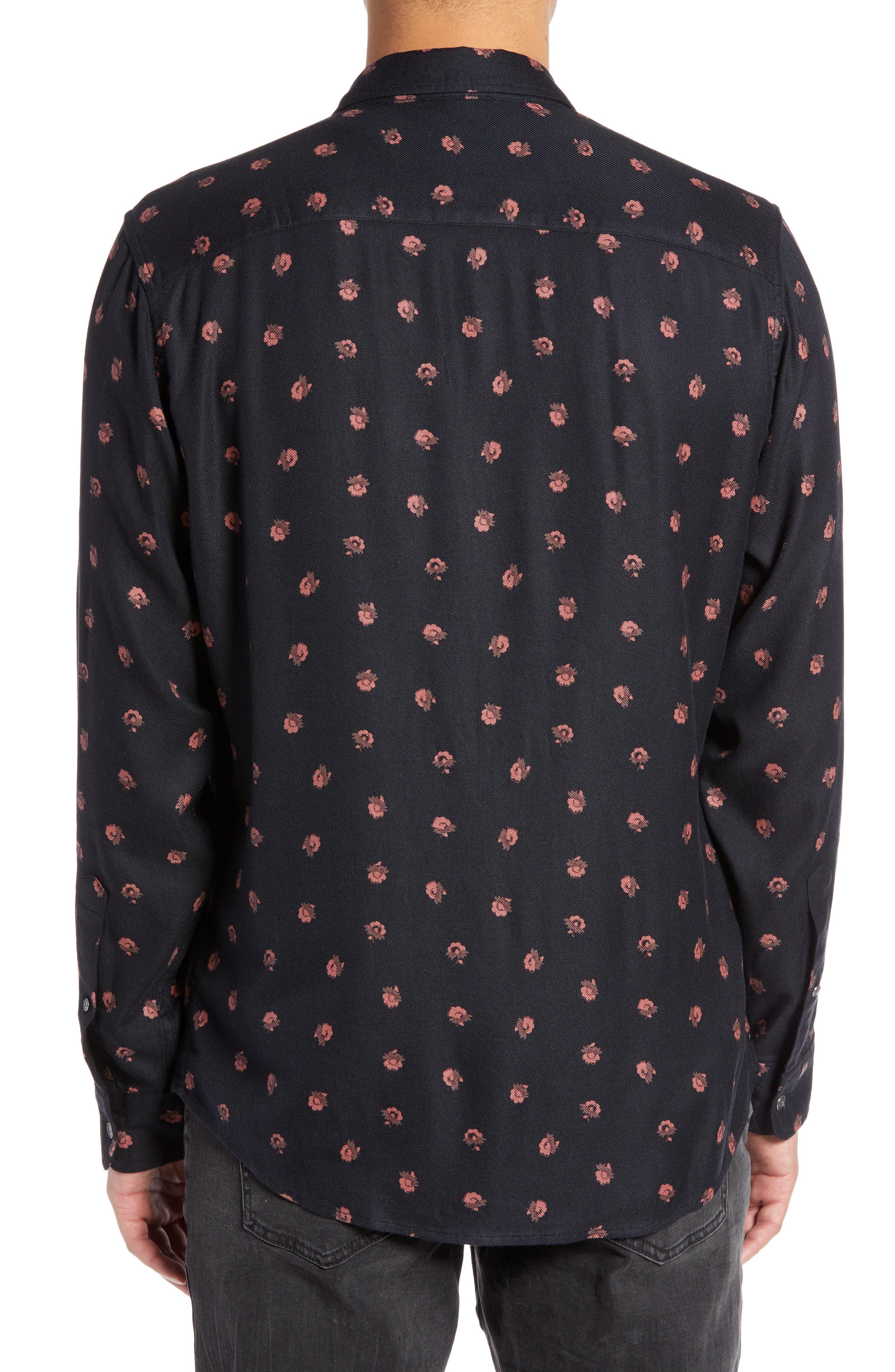 Regular Fit Floral Print Sport Shirt,                             Alternate thumbnail 3, color,                             BLACK DESERT DITSY