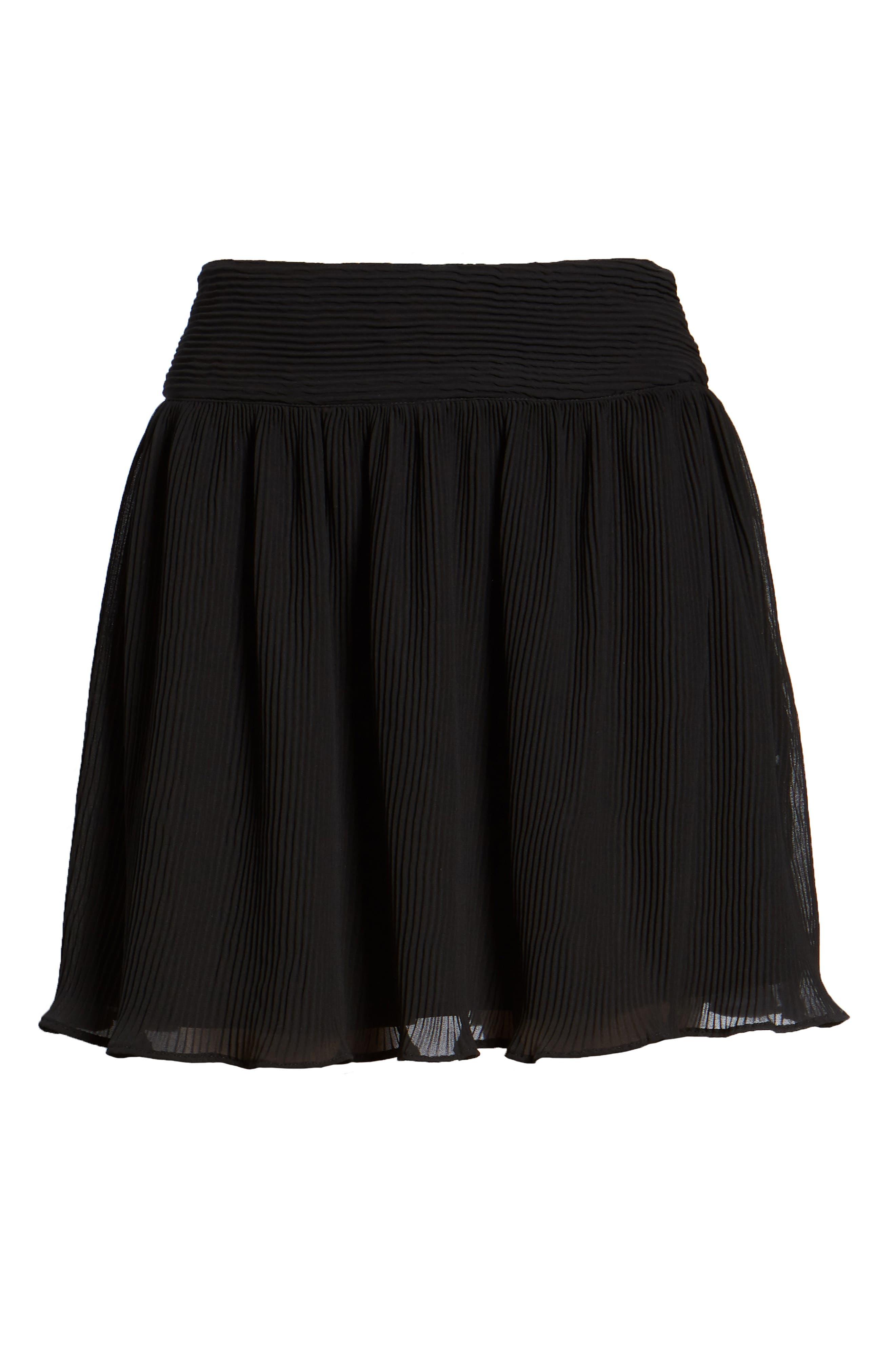 Pleated Flounce Miniskirt,                             Alternate thumbnail 7, color,                             001