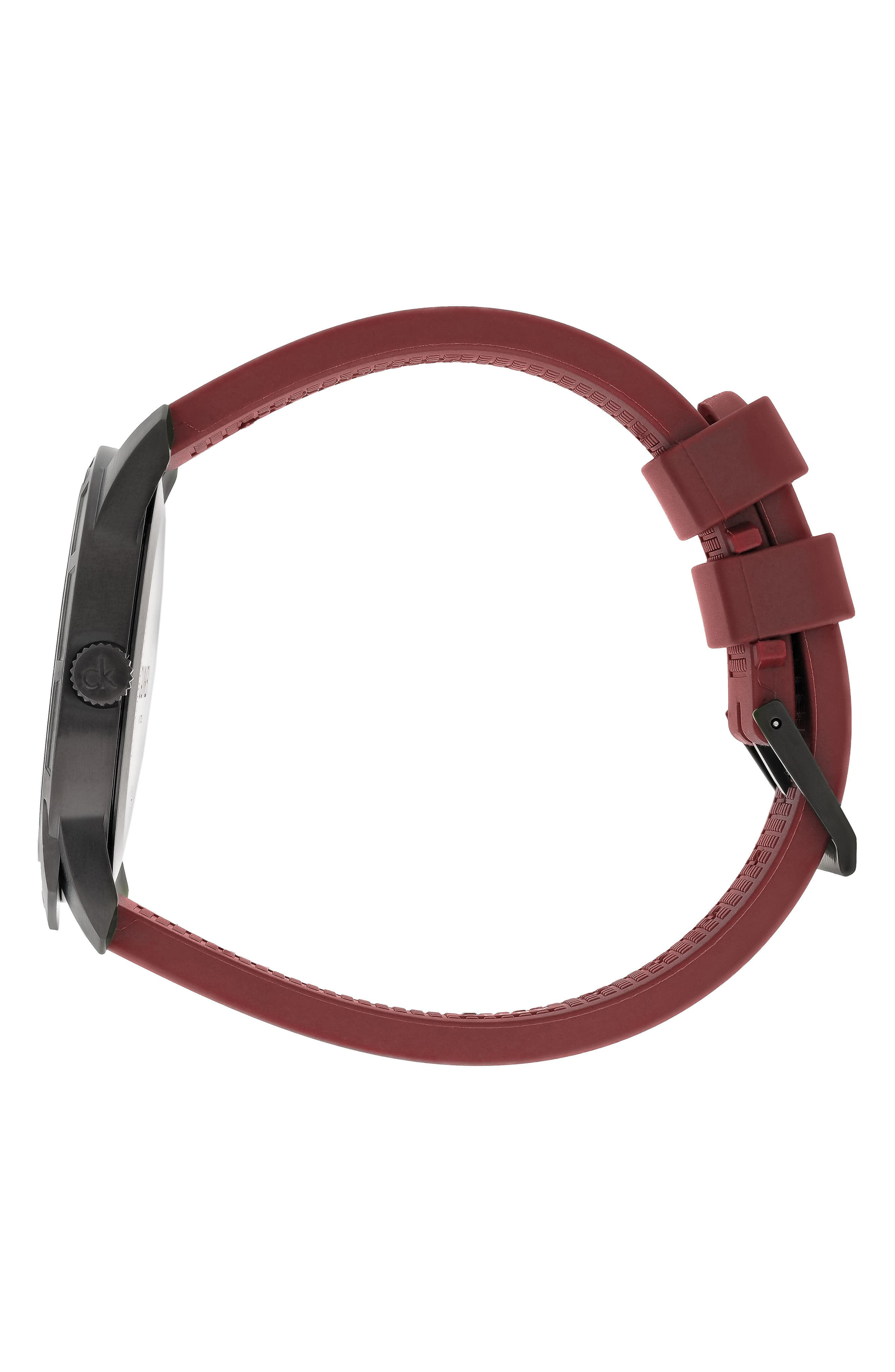 Evidence Silicone Band Watch, 42mm,                             Alternate thumbnail 3, color,                             RED/ BLACK