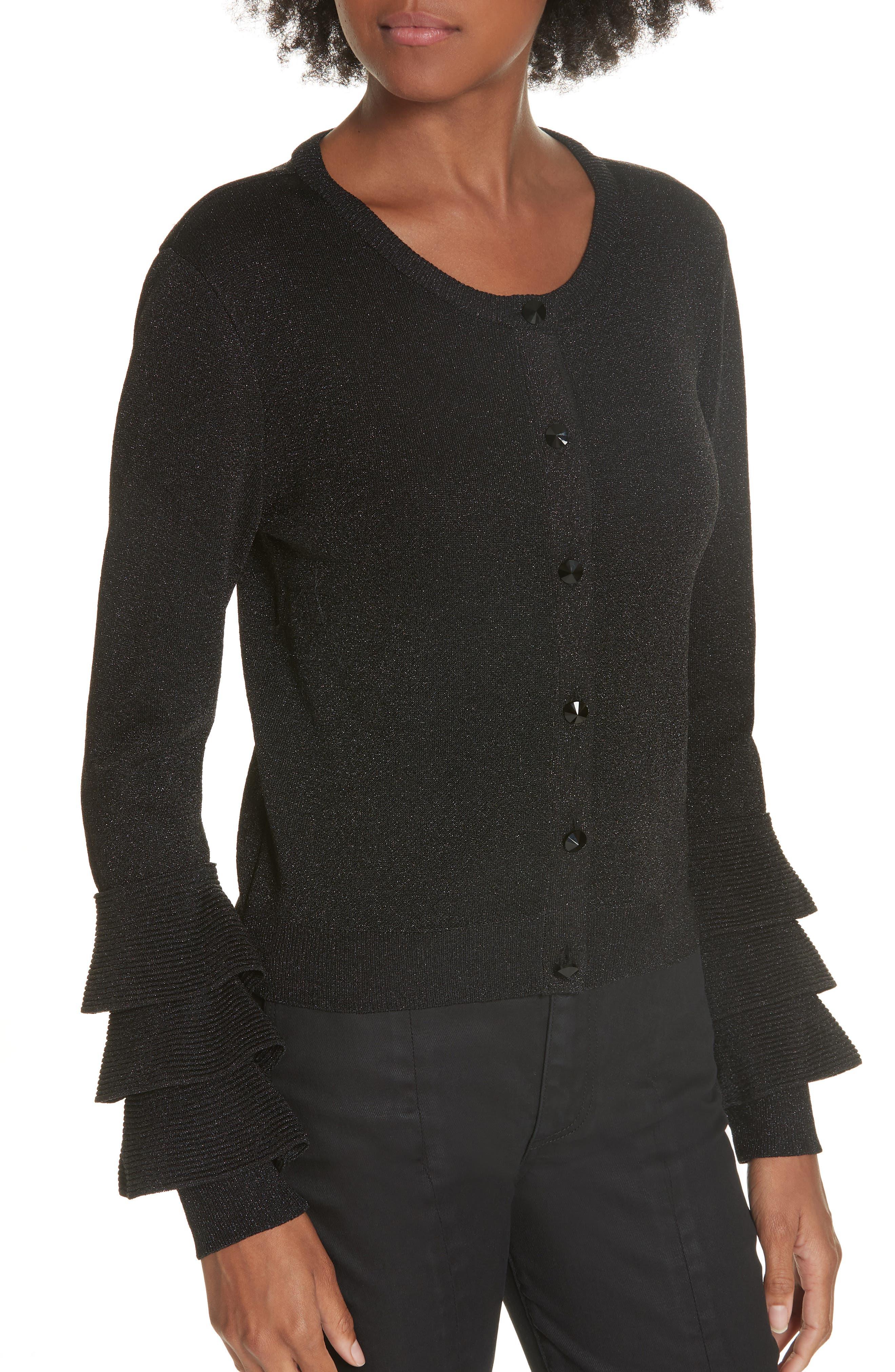 Ruthy Ruffle Cuff Sparkle Wool Blend Cardigan,                             Alternate thumbnail 4, color,                             BLACK METALLIC