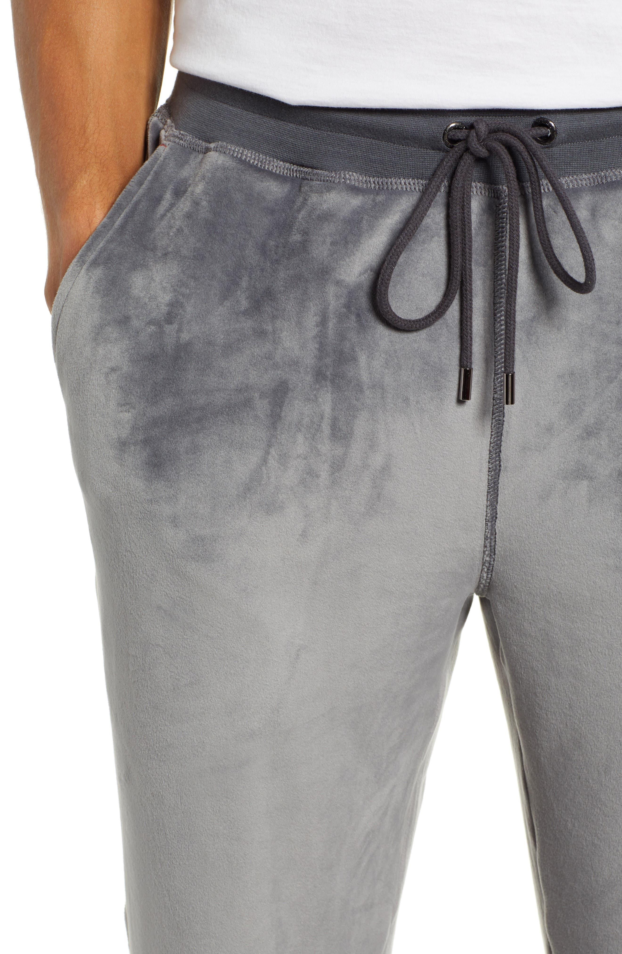 Velour Lounge Pants,                             Alternate thumbnail 4, color,                             GREY
