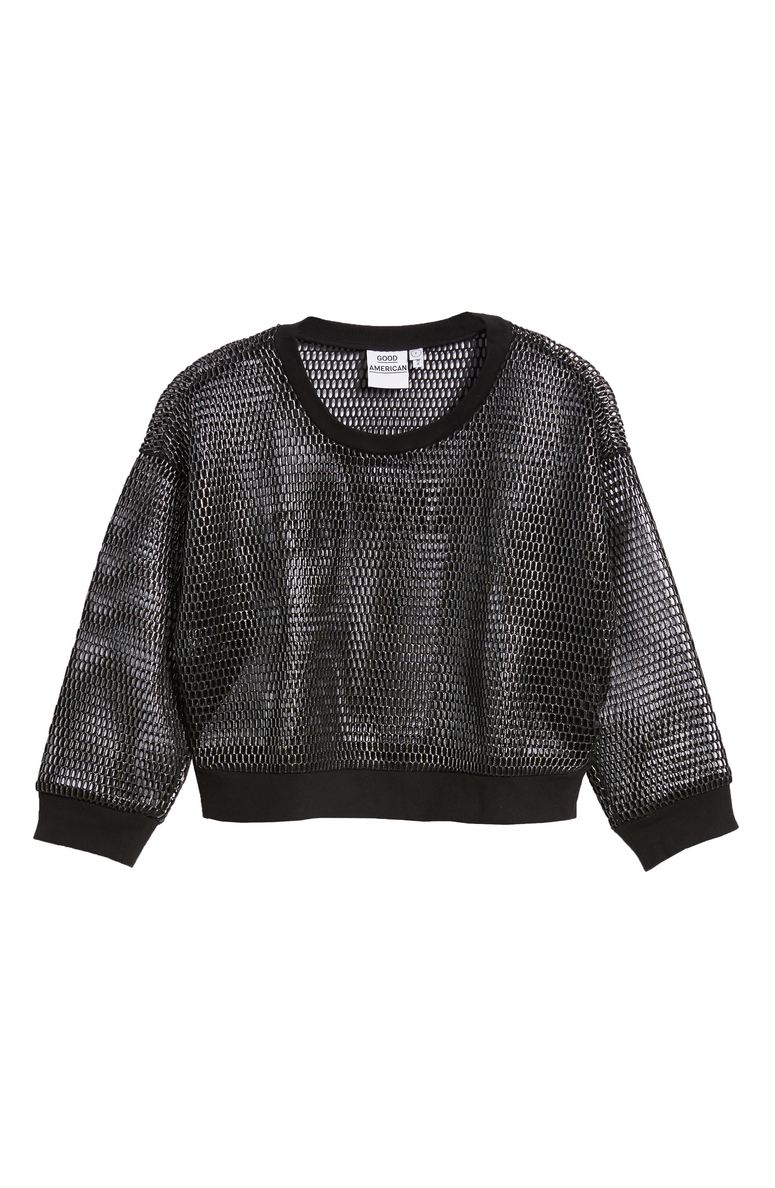Branded Mesh Pullover Sweatshirt,                             Alternate thumbnail 4, color,                             SILVER001