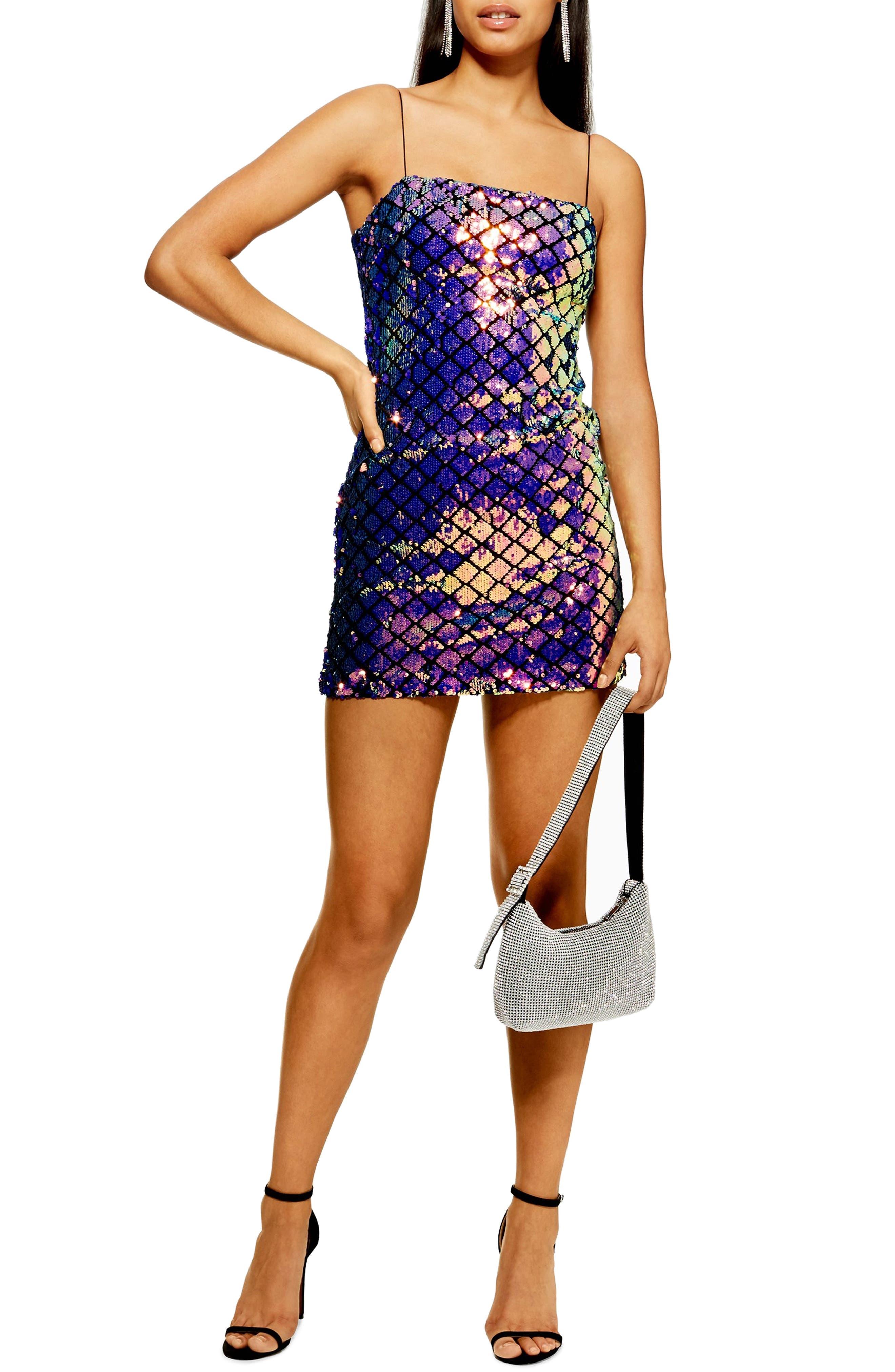 TOPSHOP,                             Diamond Sequin Slipdress,                             Main thumbnail 1, color,                             400