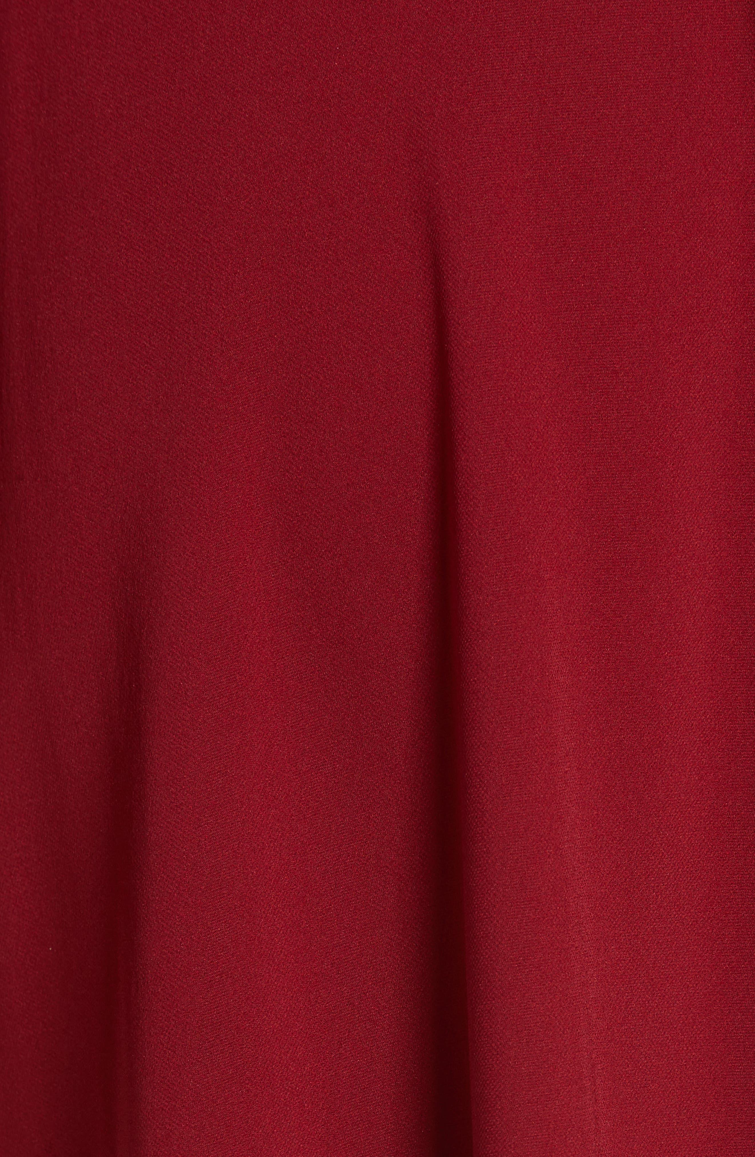 Asymmetrical Stripe Stretch Silk Midi Skirt,                             Alternate thumbnail 5, color,                             BURGUNDY/ RUBY