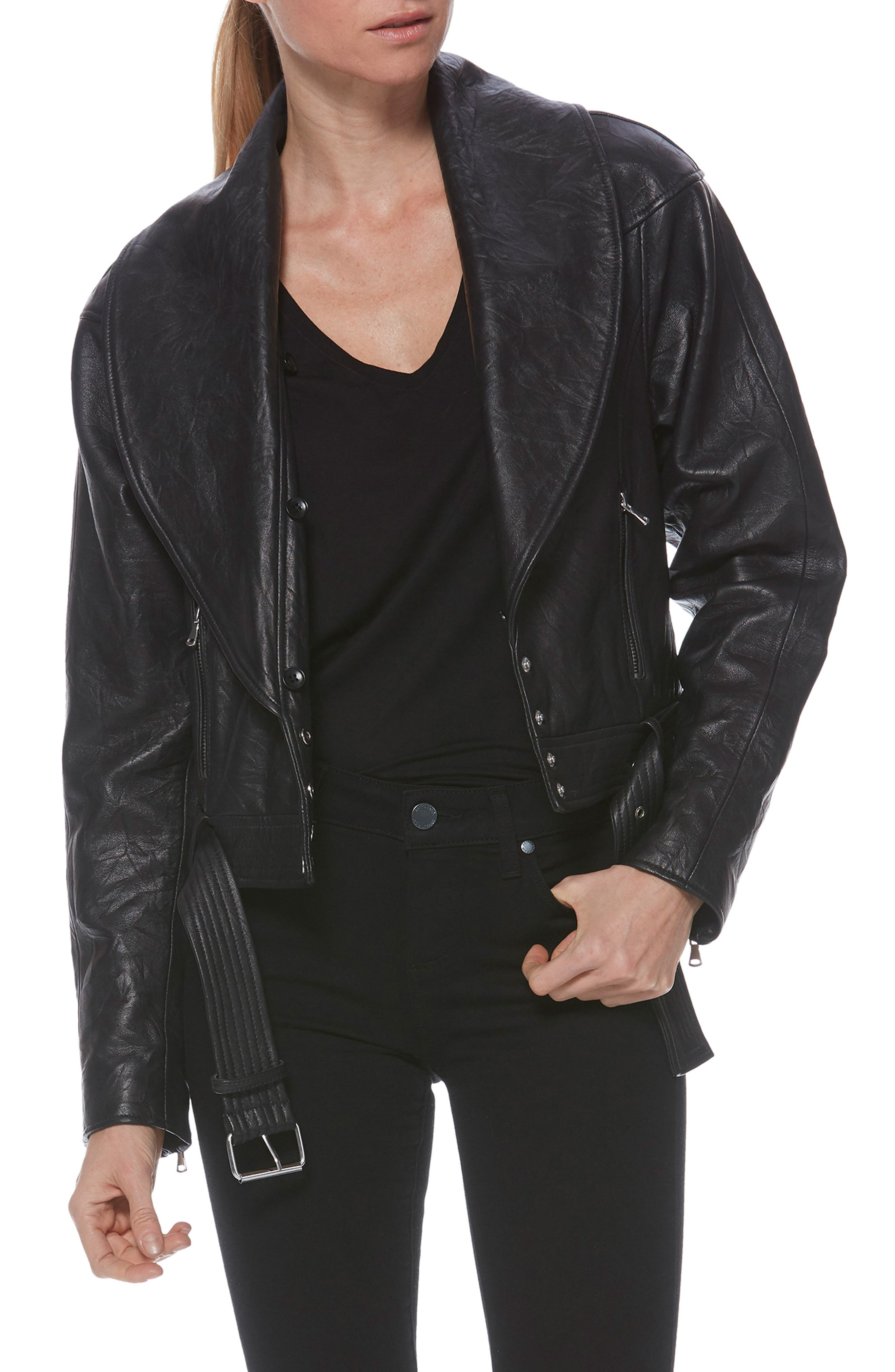 Rizza Lambskin Leather Moto Jacket with Removable Faux Fur Collar,                             Alternate thumbnail 11, color,                             BLACK