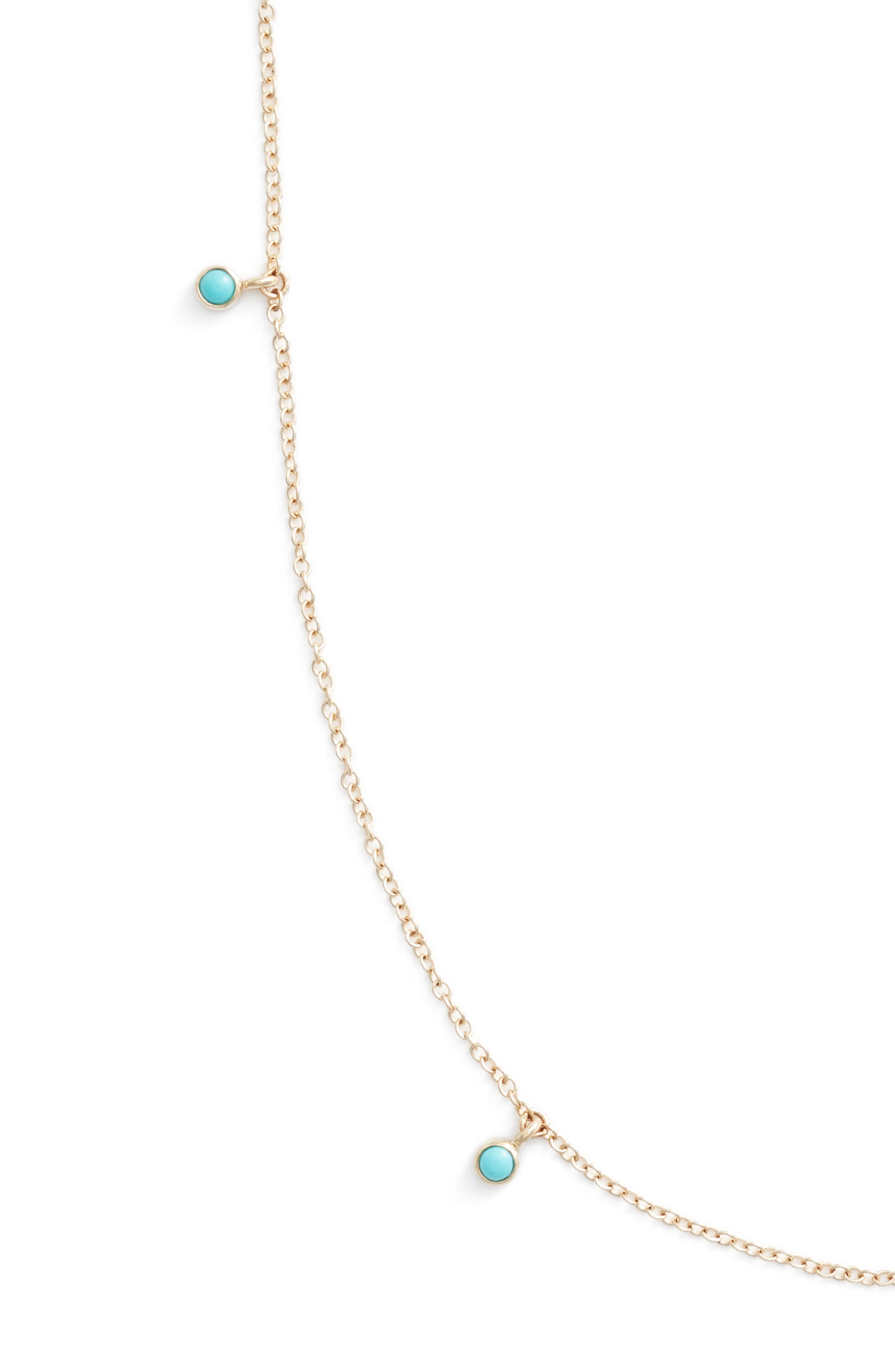 Dangling Turquoise Station Long Necklace,                             Alternate thumbnail 2, color,                             YELLOW GOLD