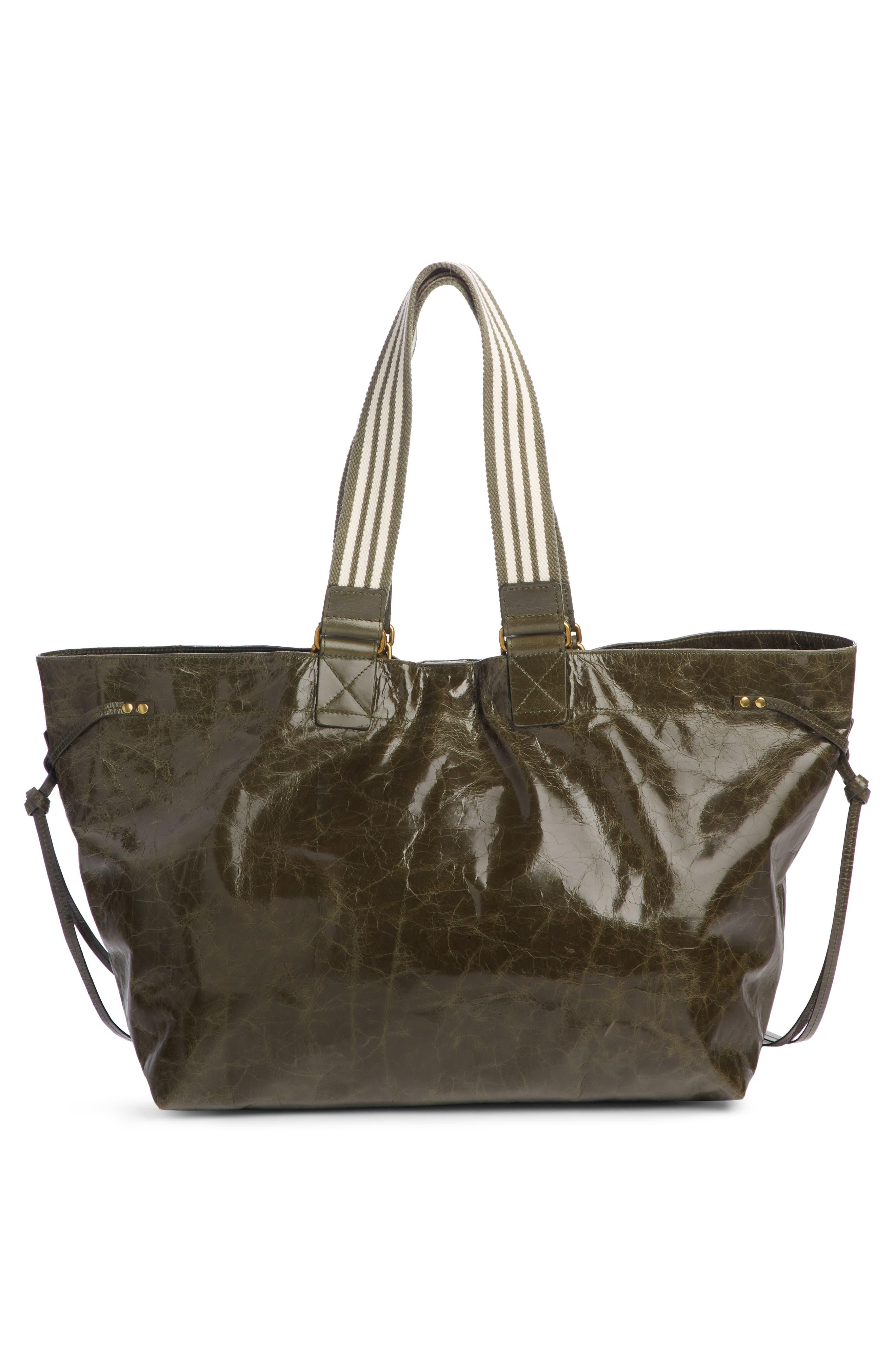 ISABEL MARANT,                             Wardy New Leather Shopper,                             Alternate thumbnail 3, color,                             KHAKI
