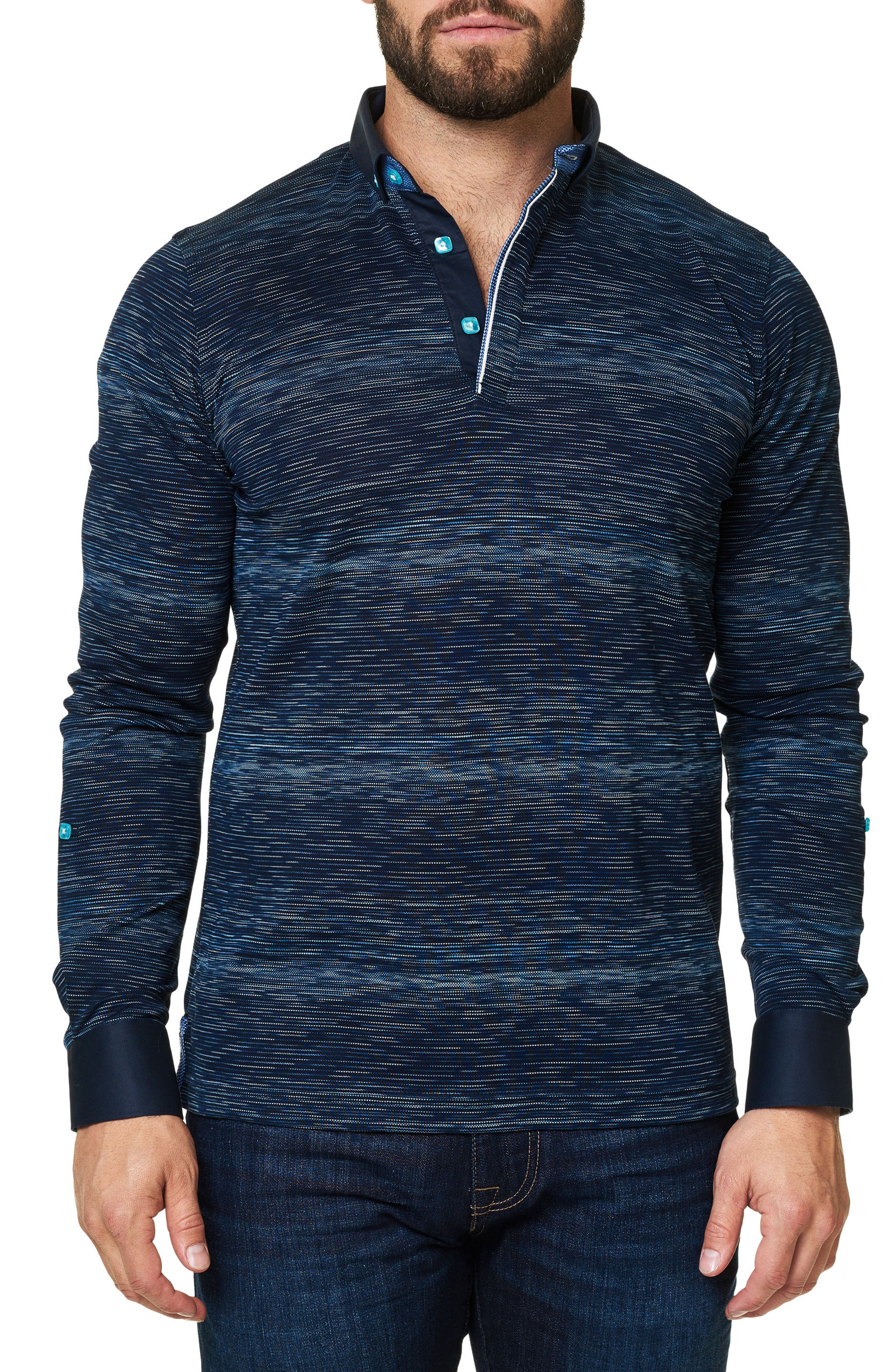 Slim Fit Woven Trim Long Sleeve Polo,                         Main,                         color, 410