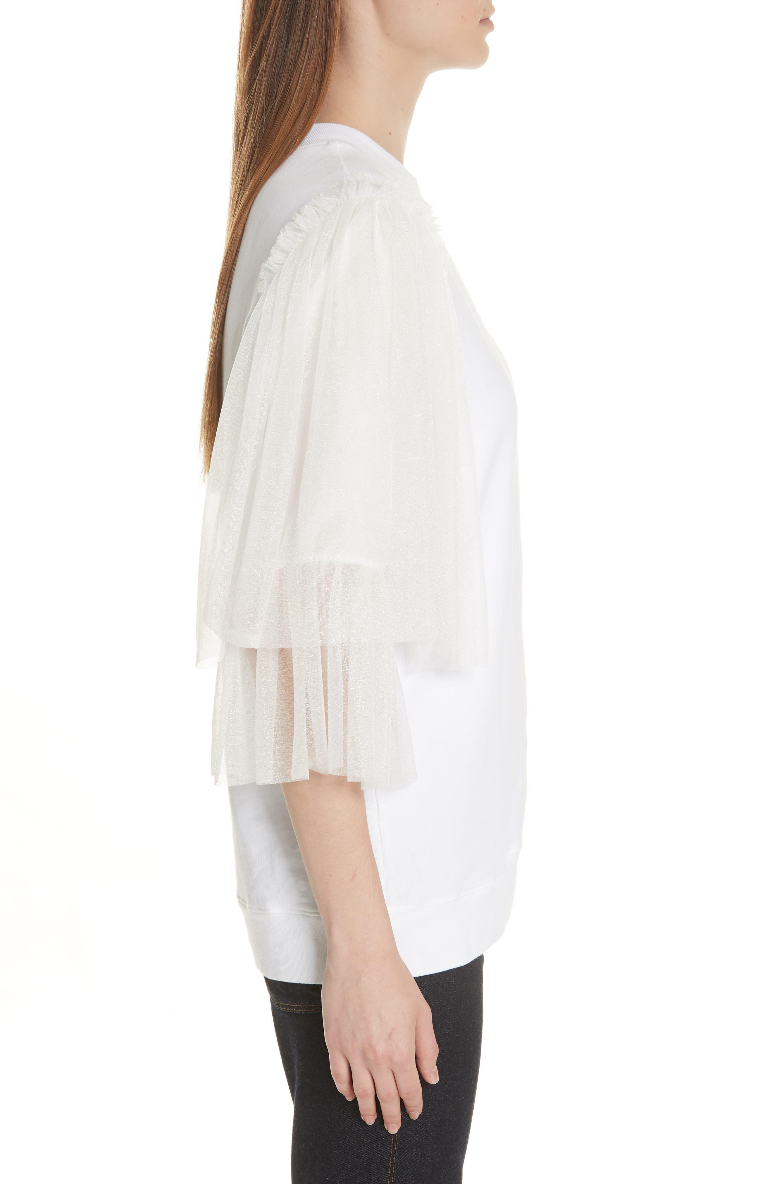 Tulle Sleeve Sweatshirt,                             Alternate thumbnail 3, color,                             WHITE