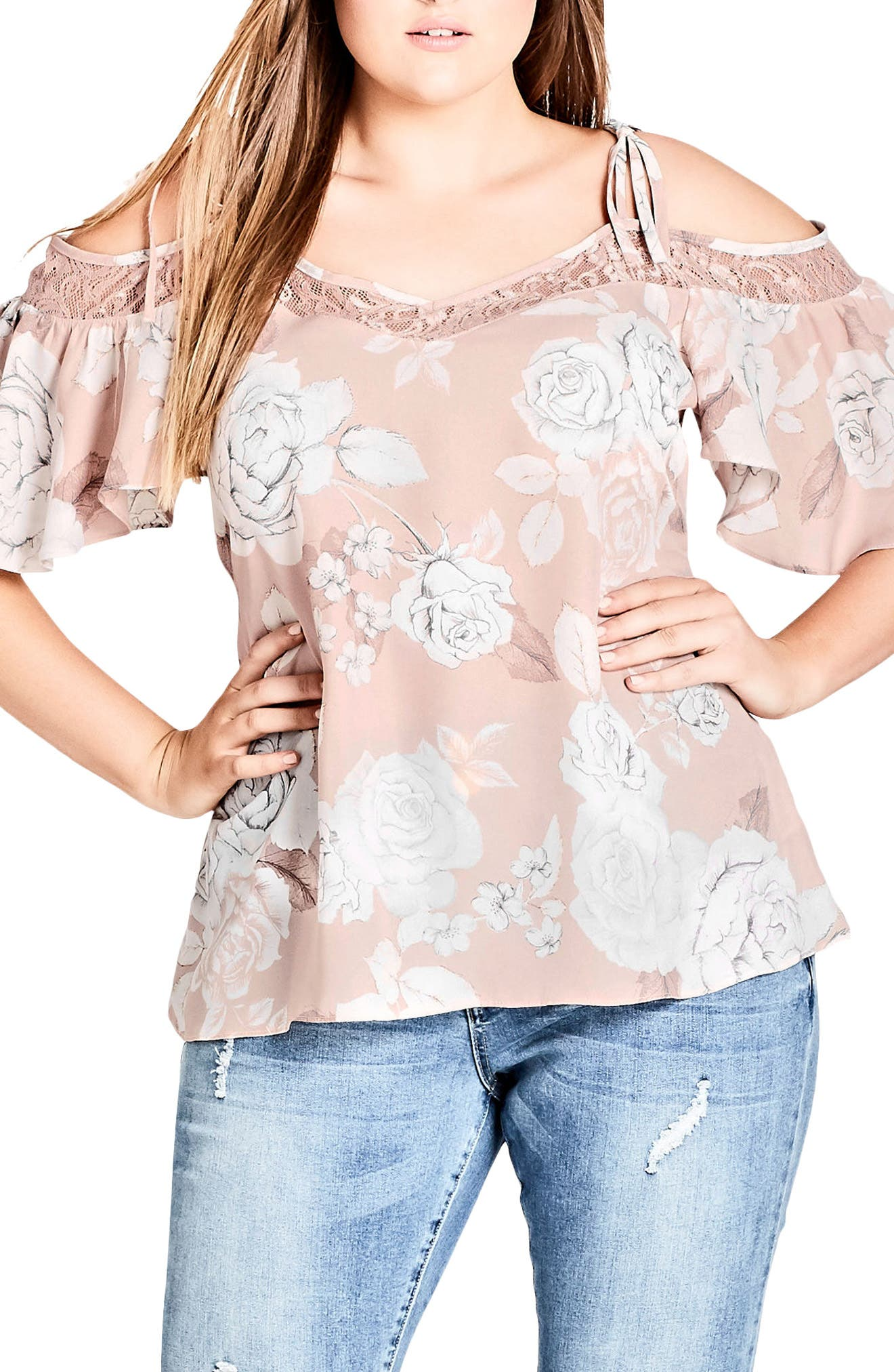 Whimsy Lace Cold Shoulder Top,                             Main thumbnail 1, color,                             SOFT WHIMSY