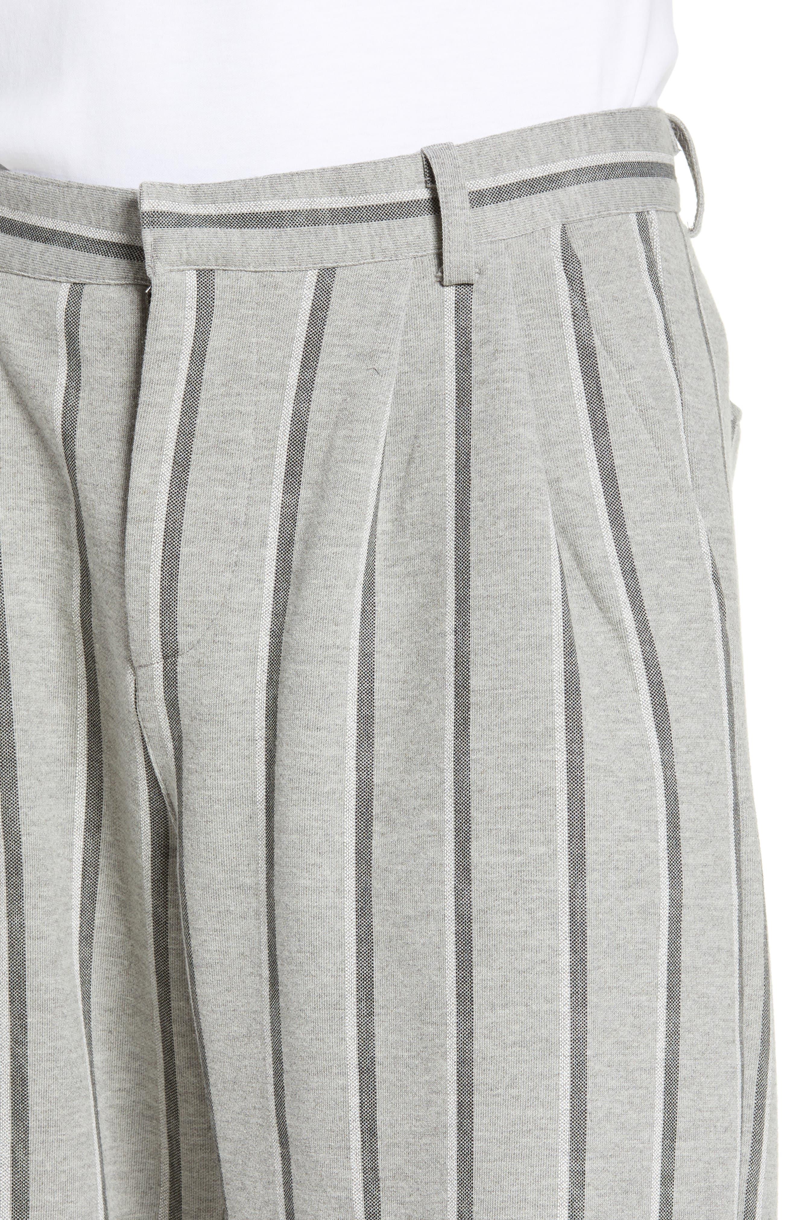 Pleated Plaid Crop Pants,                             Alternate thumbnail 4, color,                             GREY BLACK SHADOW STRIPE