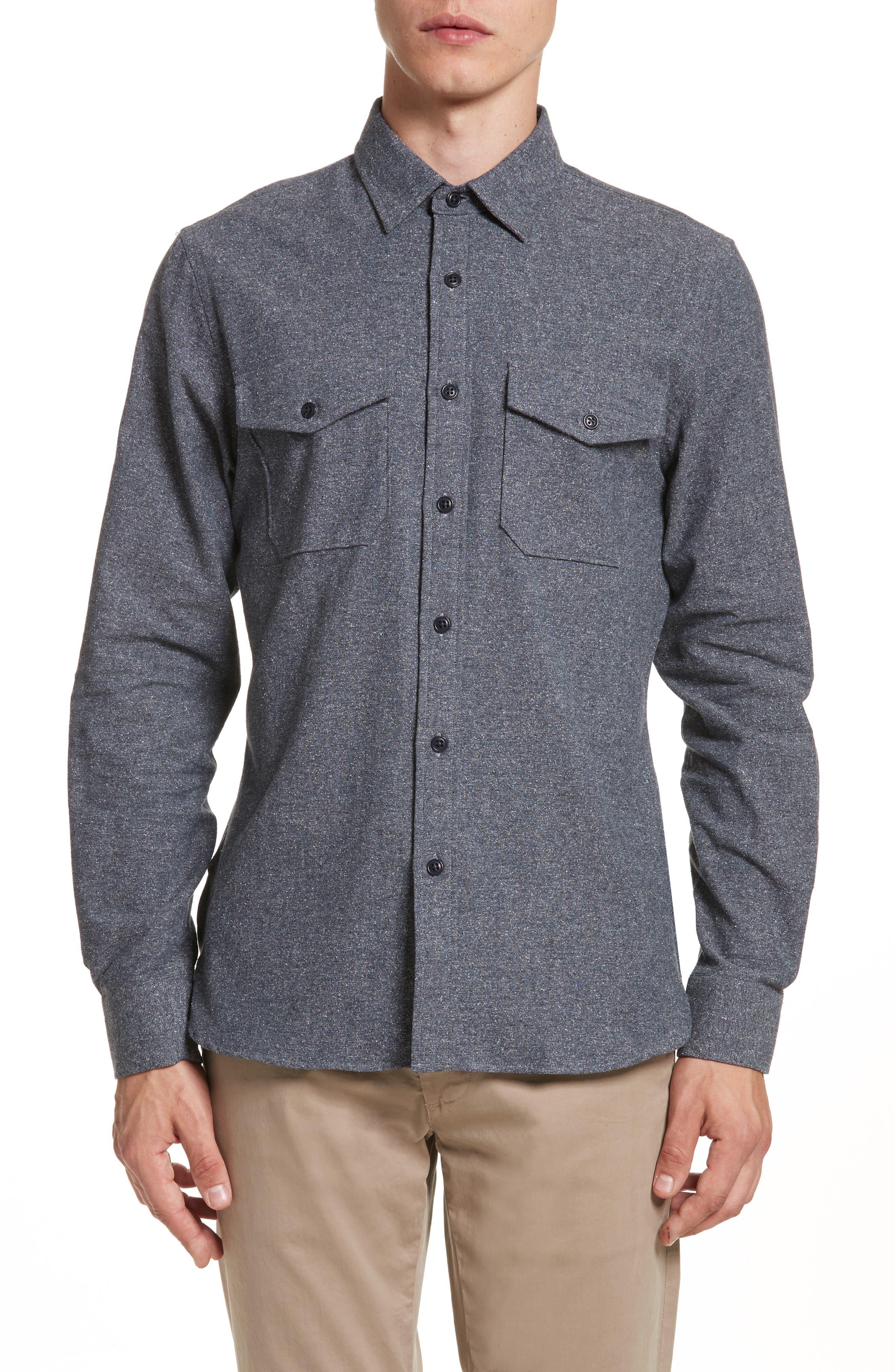 Silk Blend Speckled Work Shirt,                         Main,                         color, 410