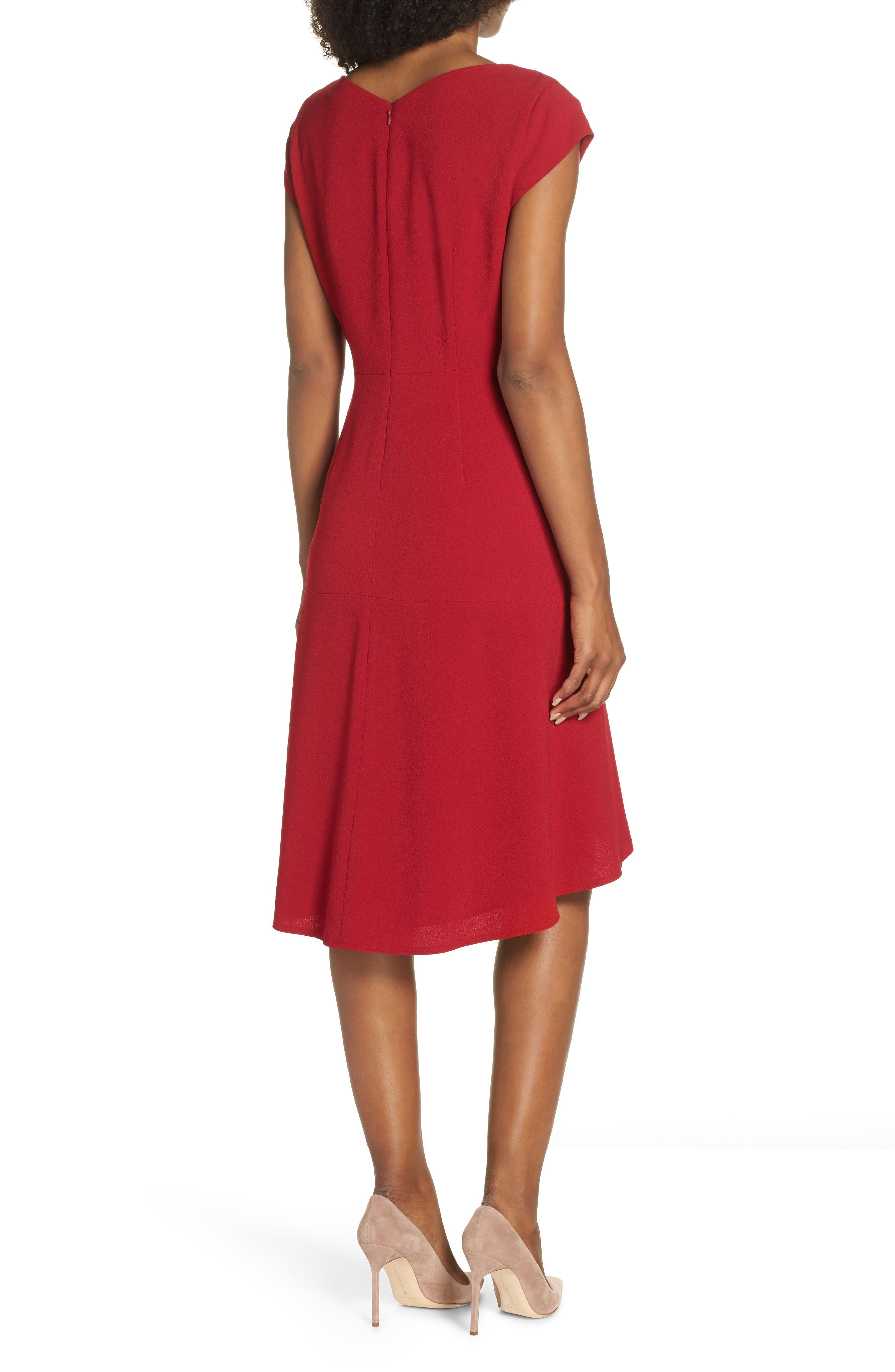 Asymmetrical Neck Fit & Flare Dress,                             Alternate thumbnail 2, color,                             GARNET
