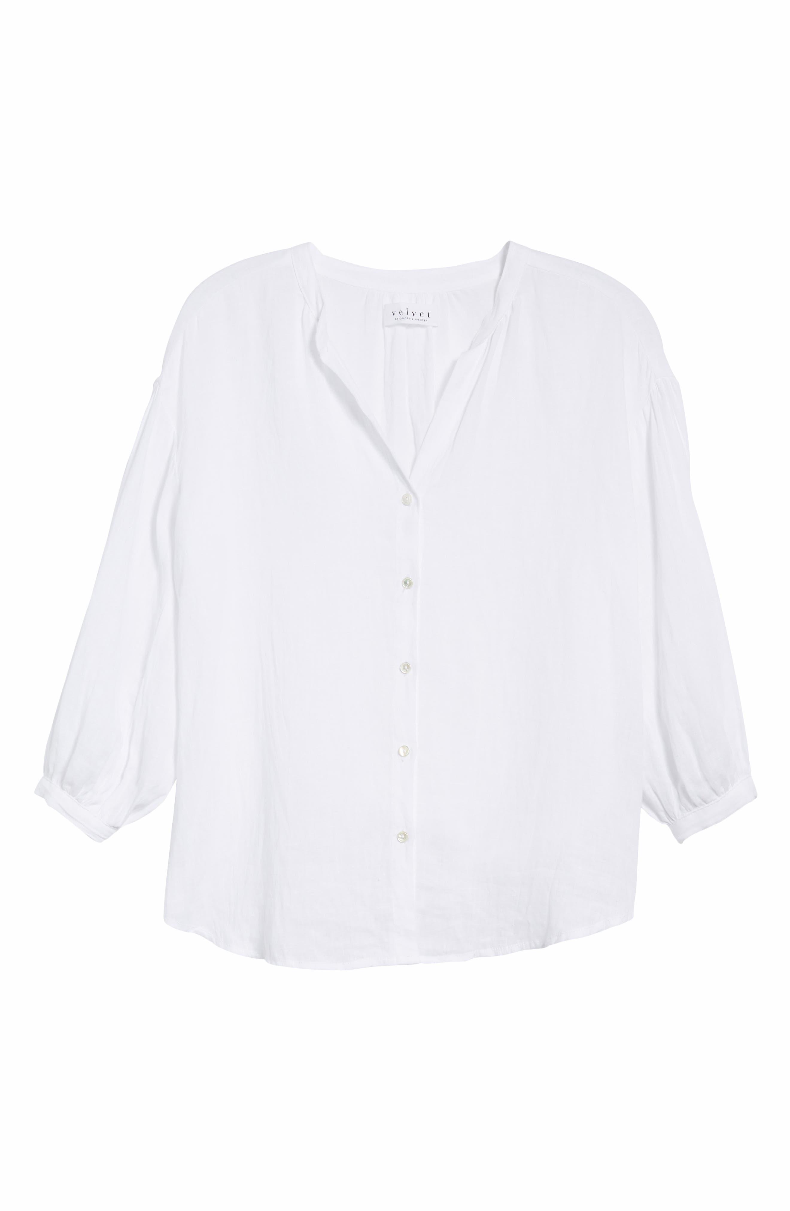 Linen Shirt,                             Alternate thumbnail 6, color,                             WHITE