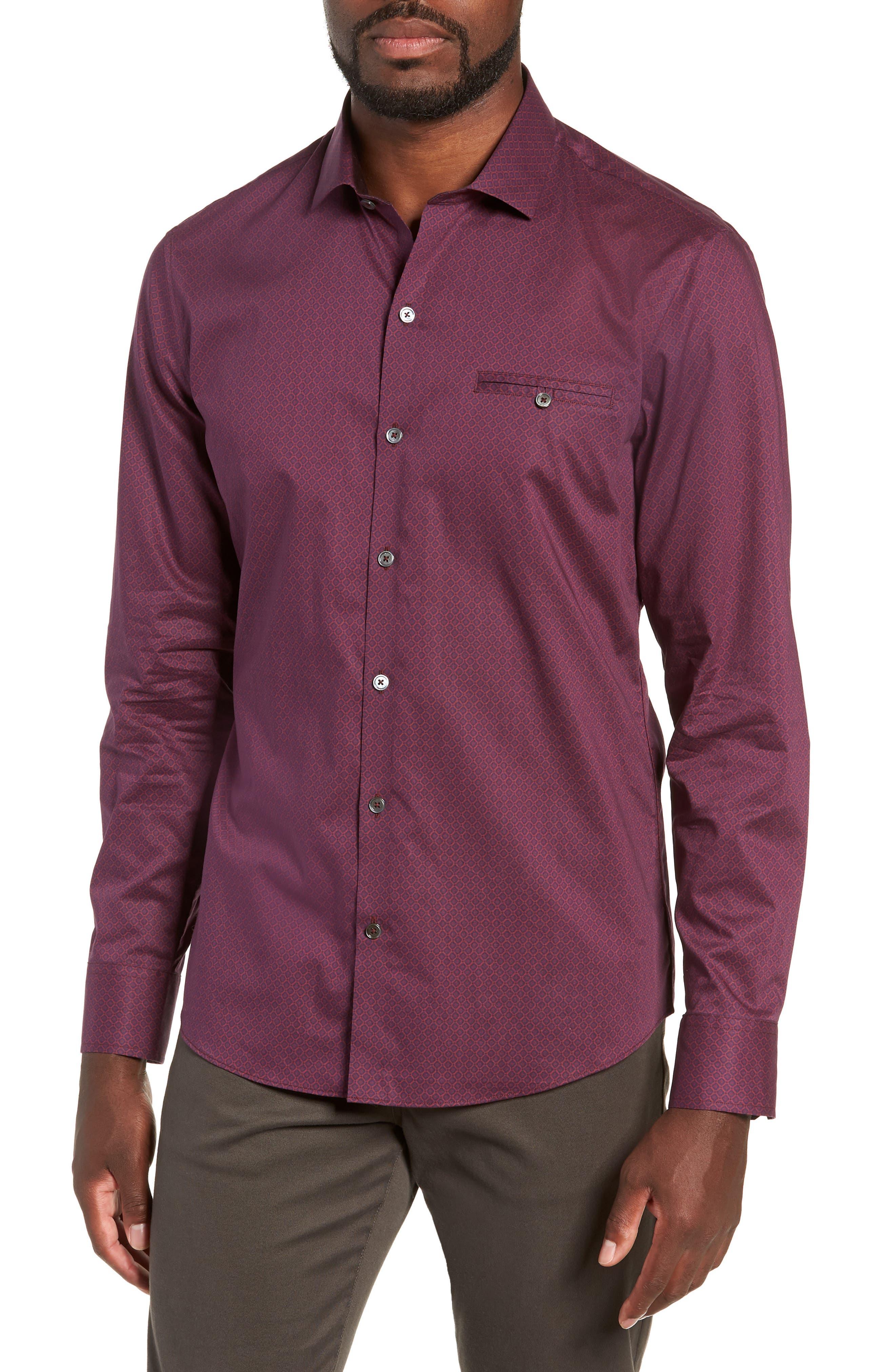 Shamus Regular Fit Sport Shirt,                         Main,                         color, MAROON