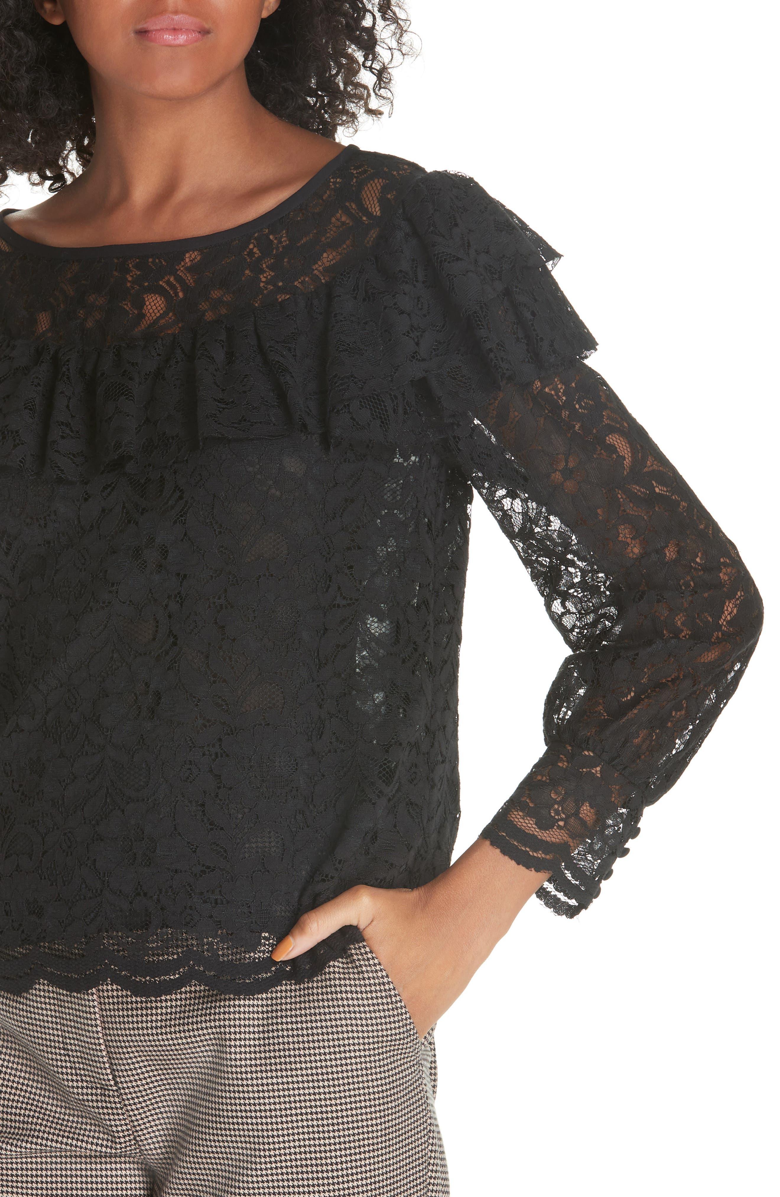 Cotton Blend Lace Ruffle Blouse,                             Alternate thumbnail 4, color,                             001
