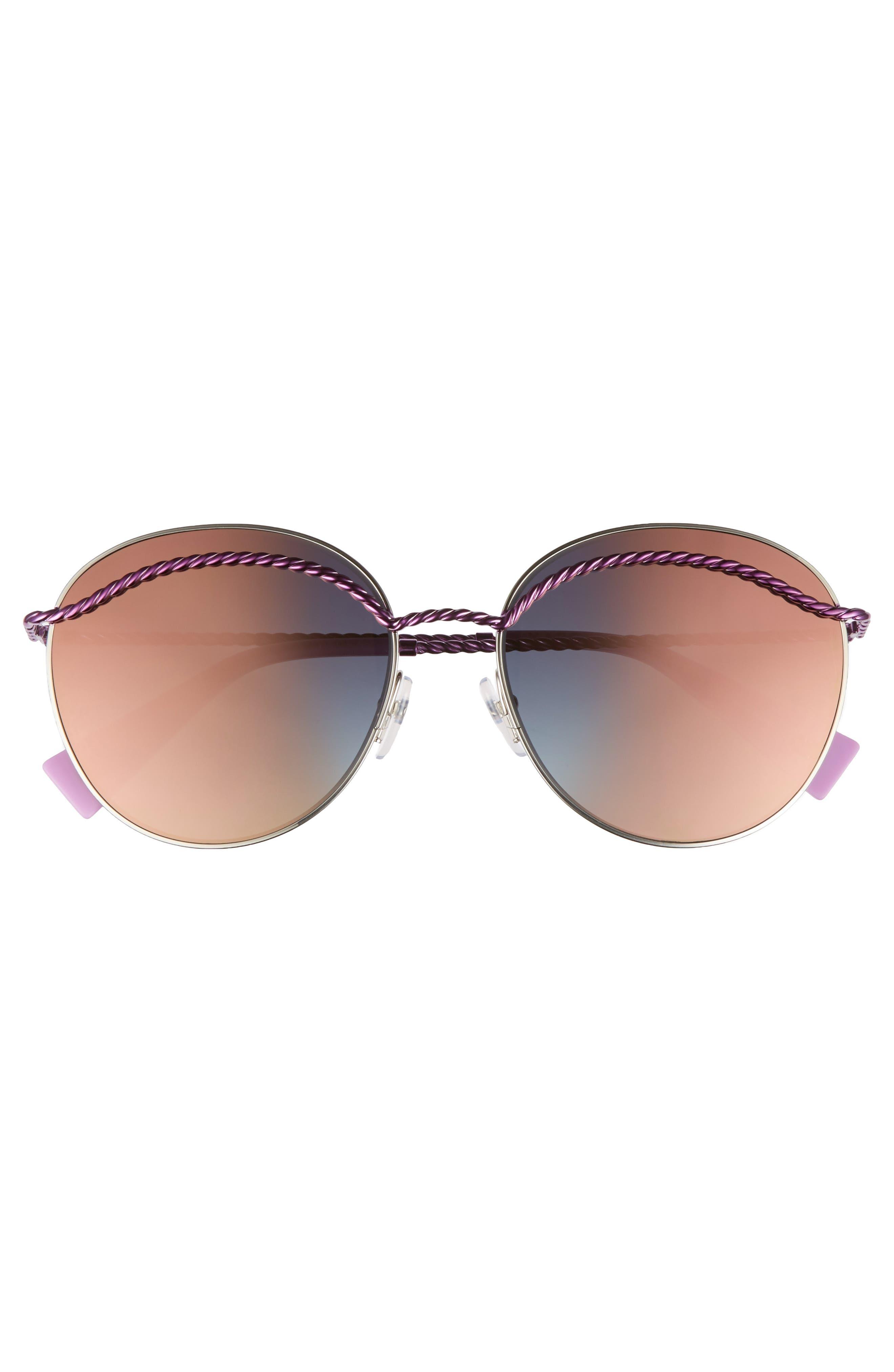 58mm Round Sunglasses,                             Alternate thumbnail 3, color,                             MATTE MAGENTA