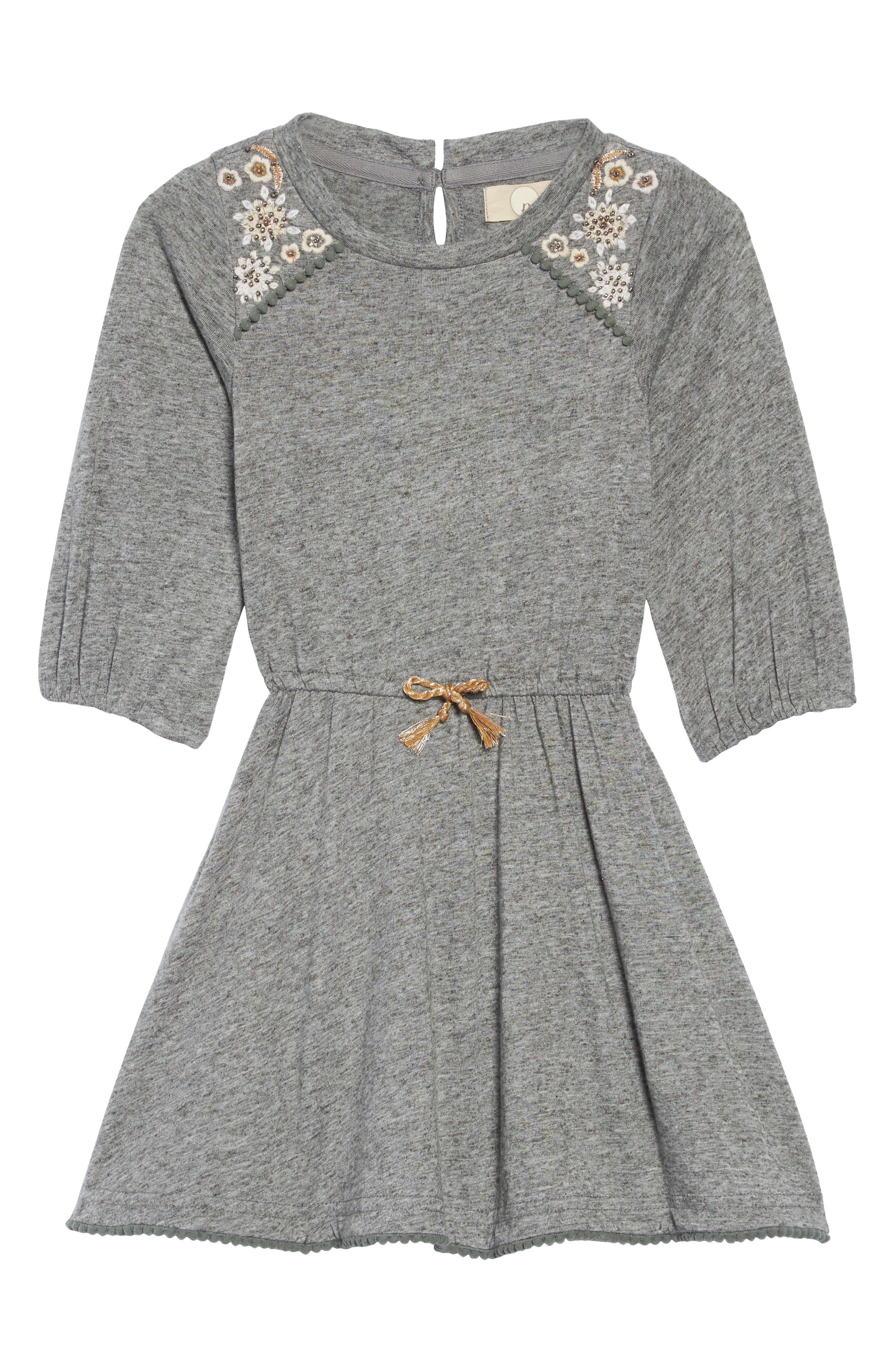 Morgan Embellished Dress,                             Main thumbnail 1, color,                             HEATHER GREY