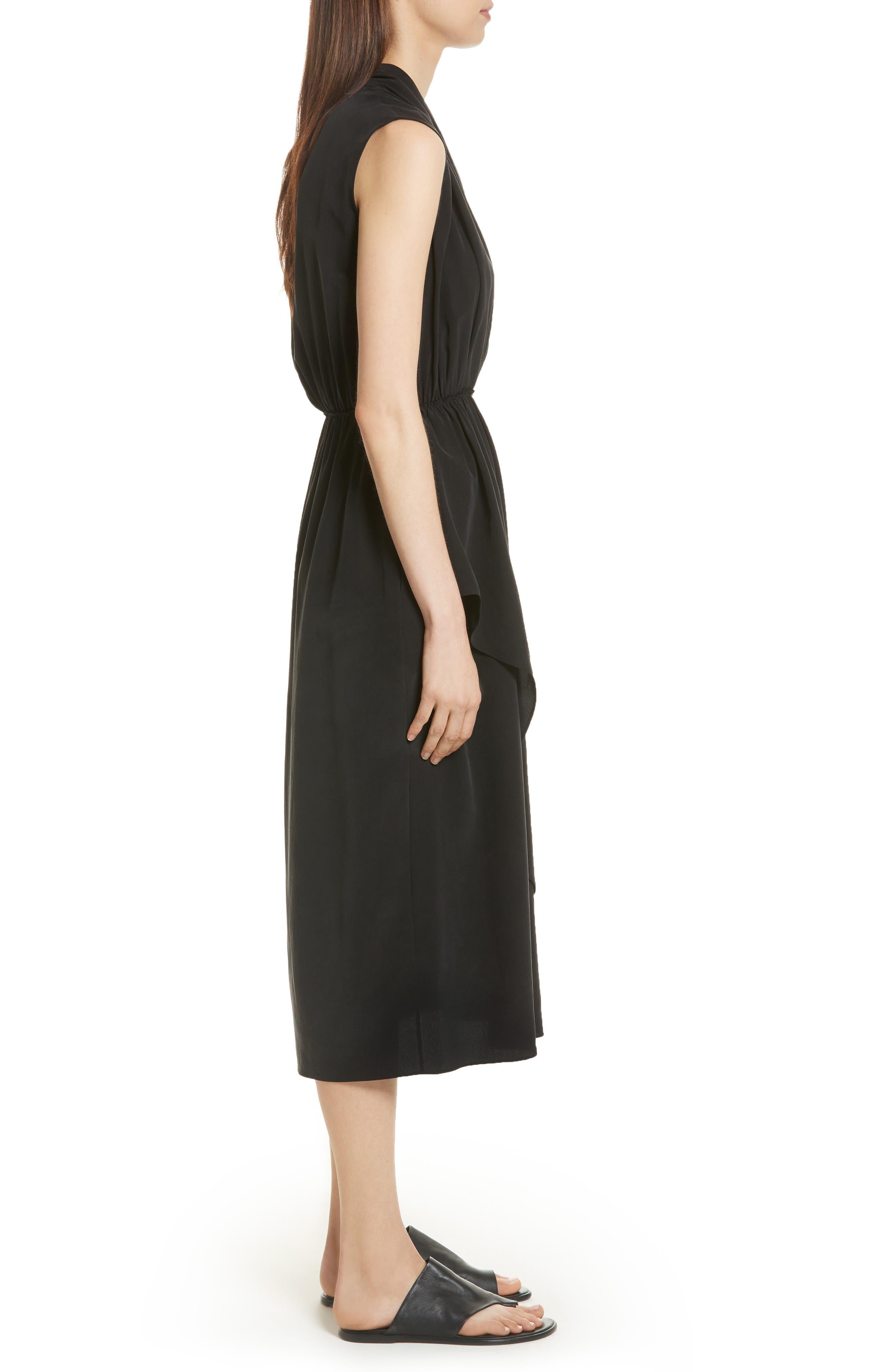 VINCE,                             Draped Silk Cross Front Dress,                             Alternate thumbnail 3, color,                             001
