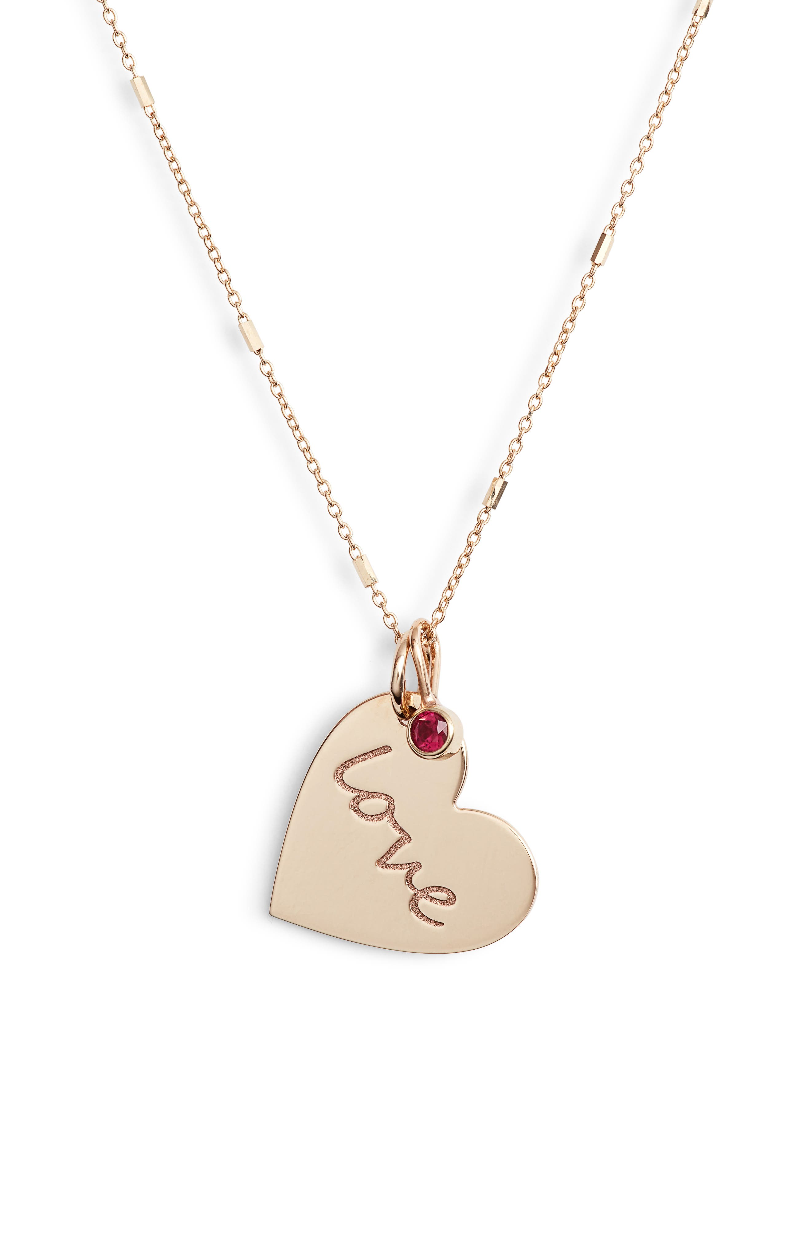 Heart with Love Charm Necklace,                         Main,                         color, GOLD