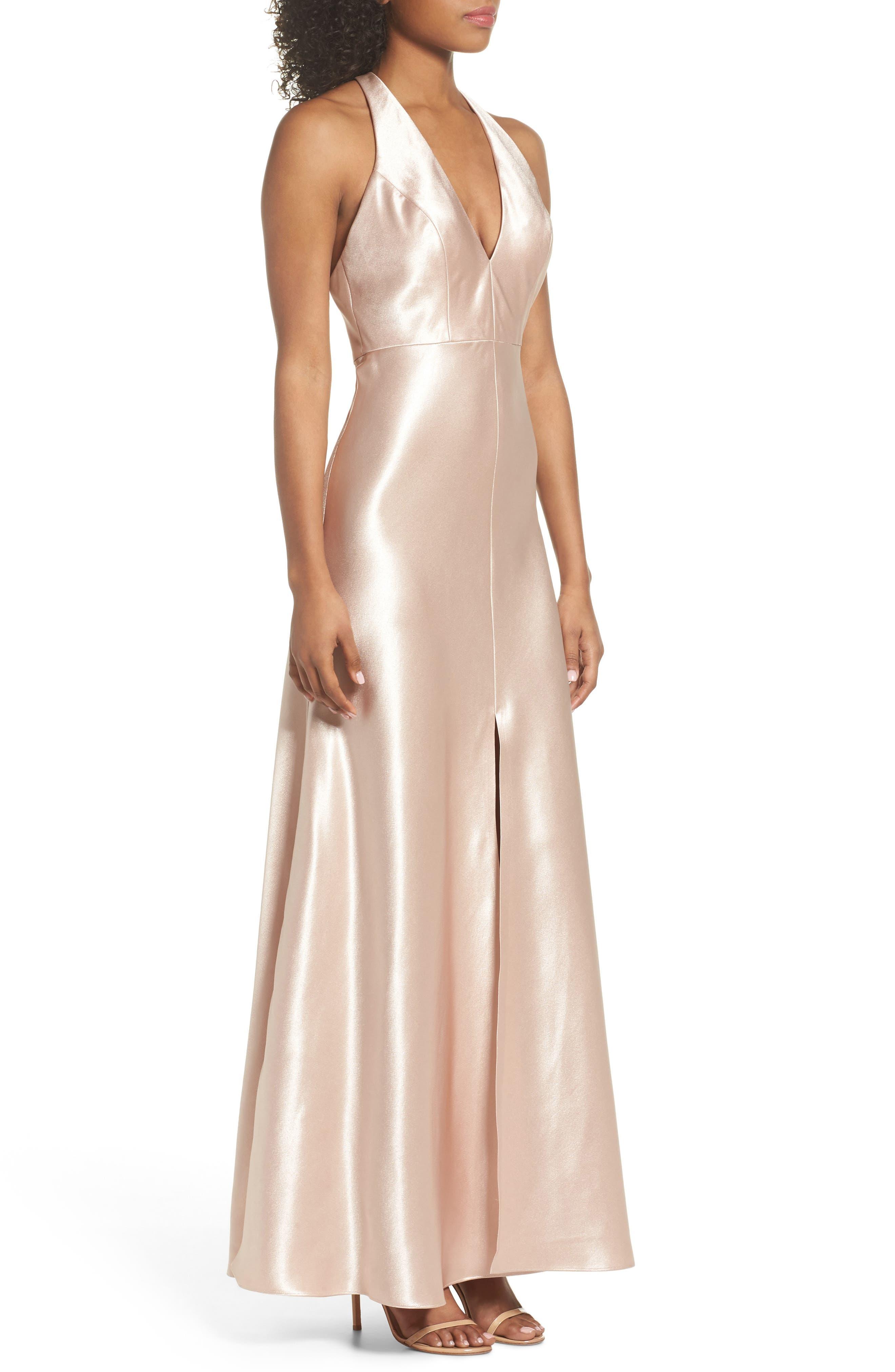 Corrine Satin Crepe Halter Gown,                             Alternate thumbnail 3, color,                             PETAL