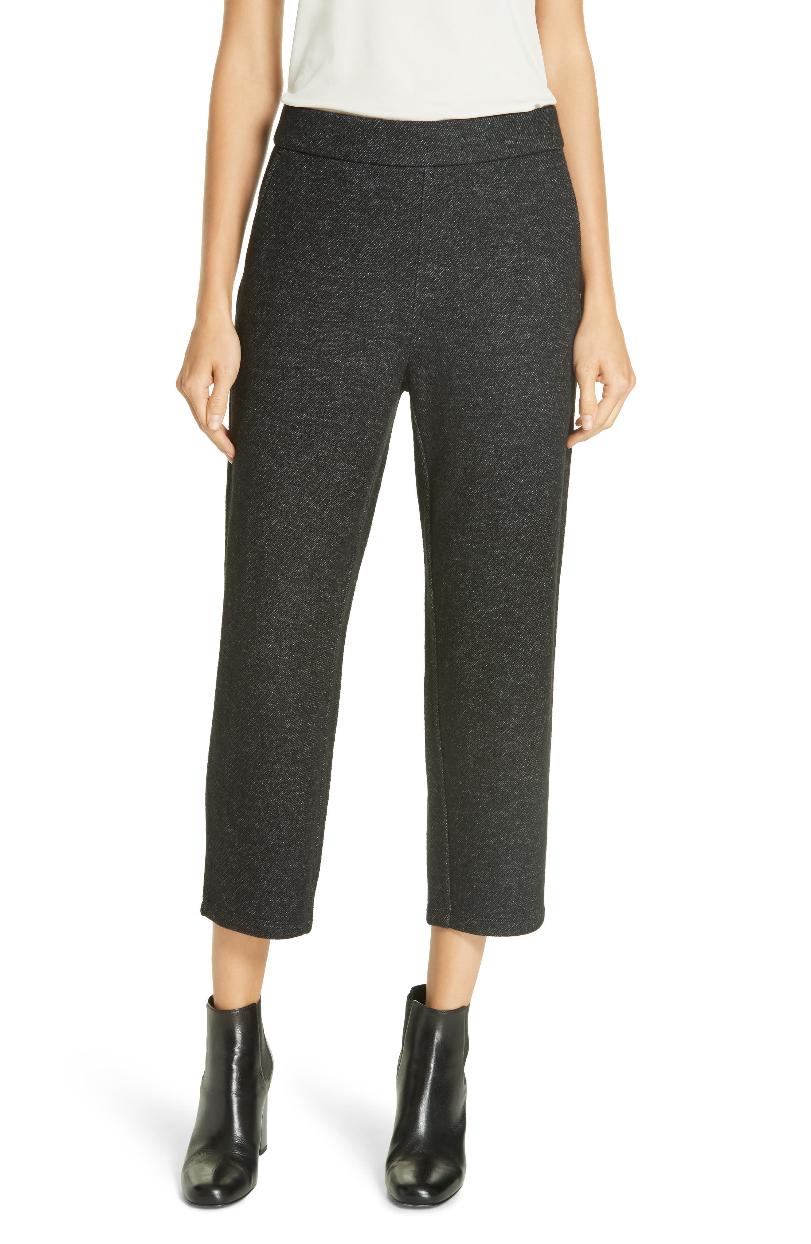 Melange Knitted Twill Wool Crop Pants in Charcoal