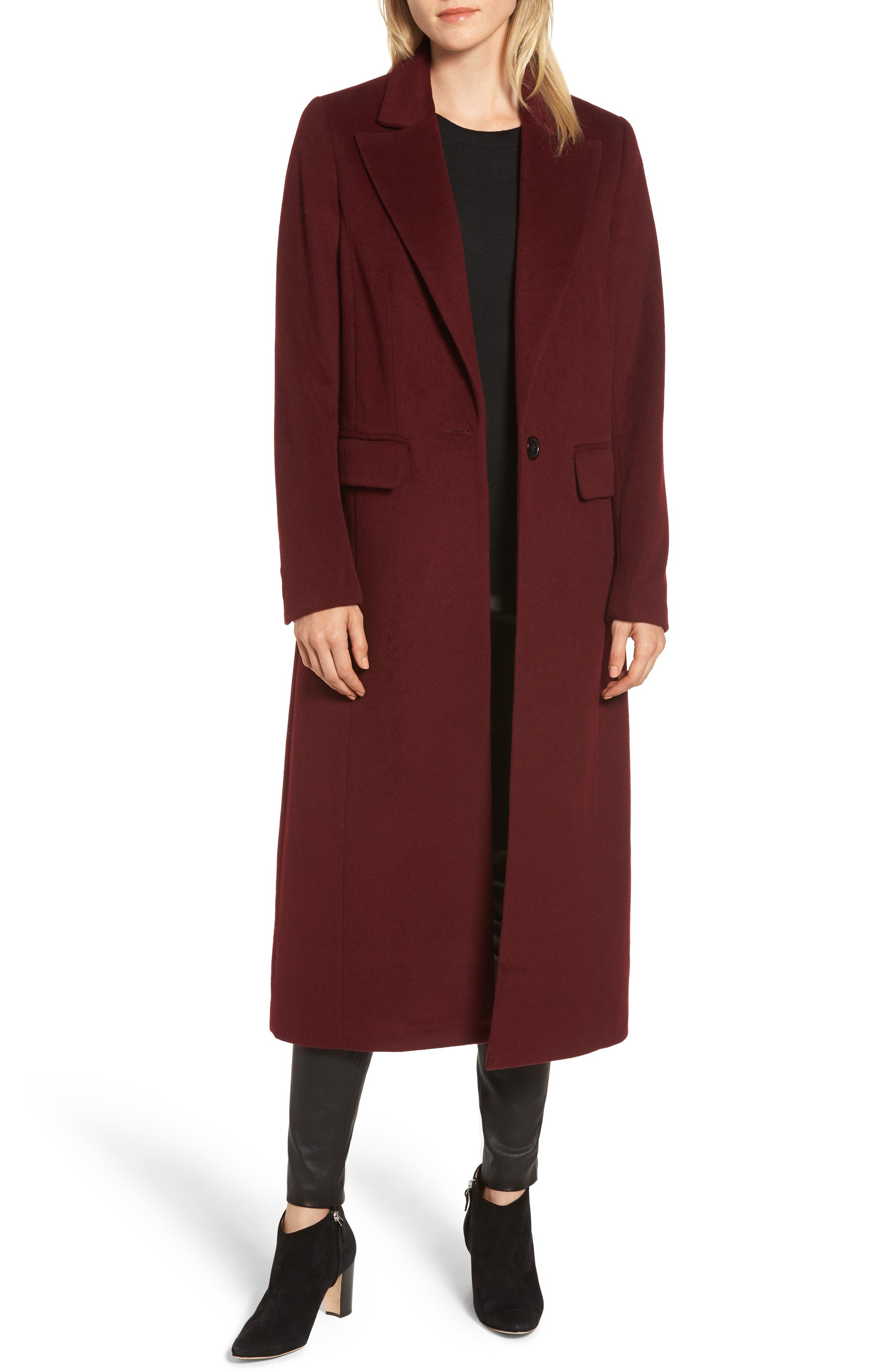Wool Blend Menswear Coat,                         Main,                         color, BURGUNDY