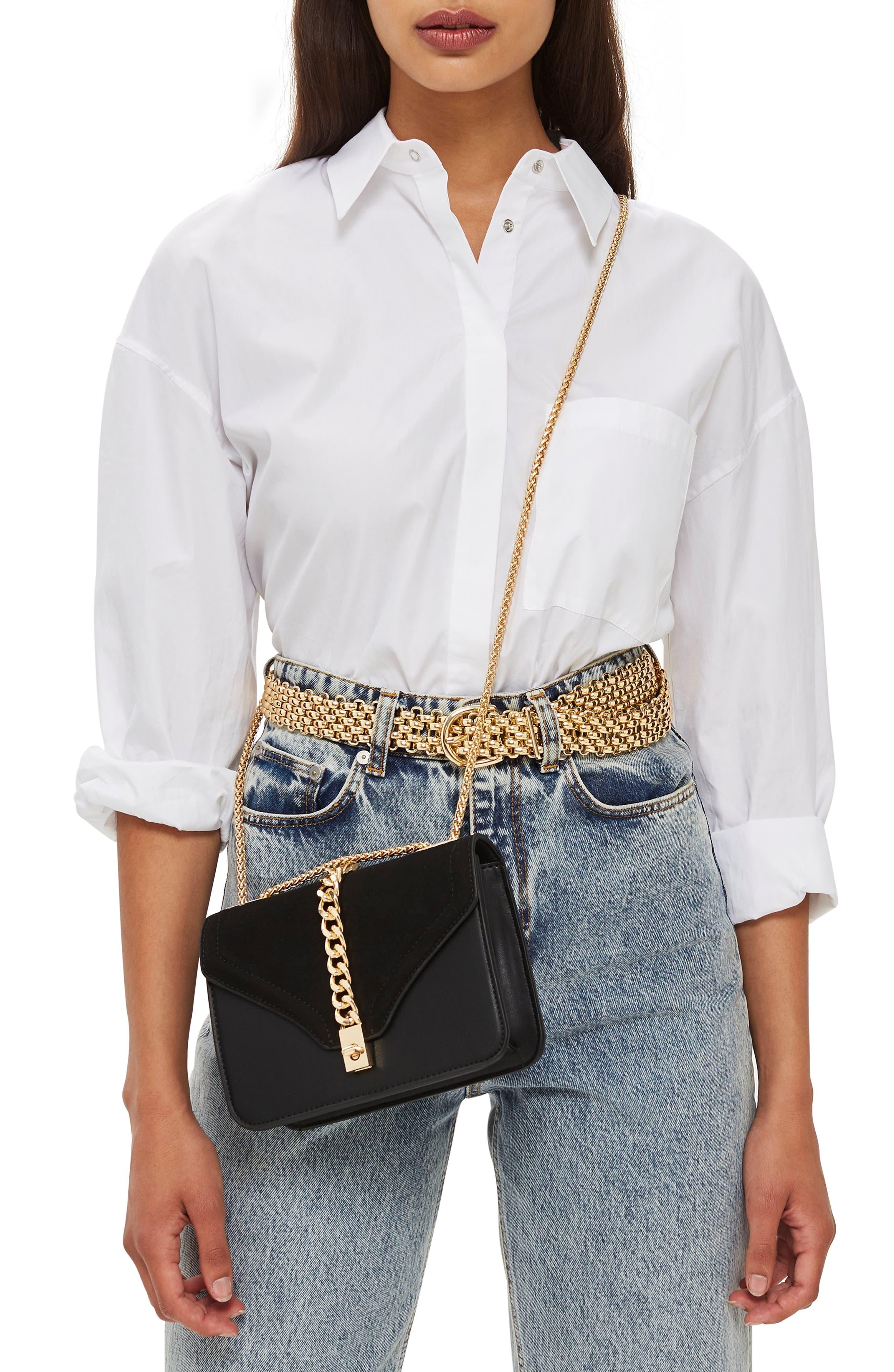 Daisy Chain Faux Leather Crossbody Bag,                             Alternate thumbnail 2, color,                             BLACK MULTI