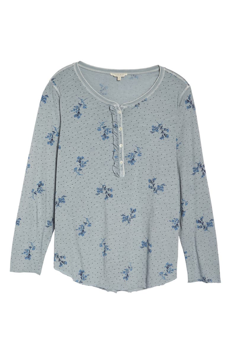 LUCKY BRAND Cottons WASHED RUFFLE HENLEY TOP