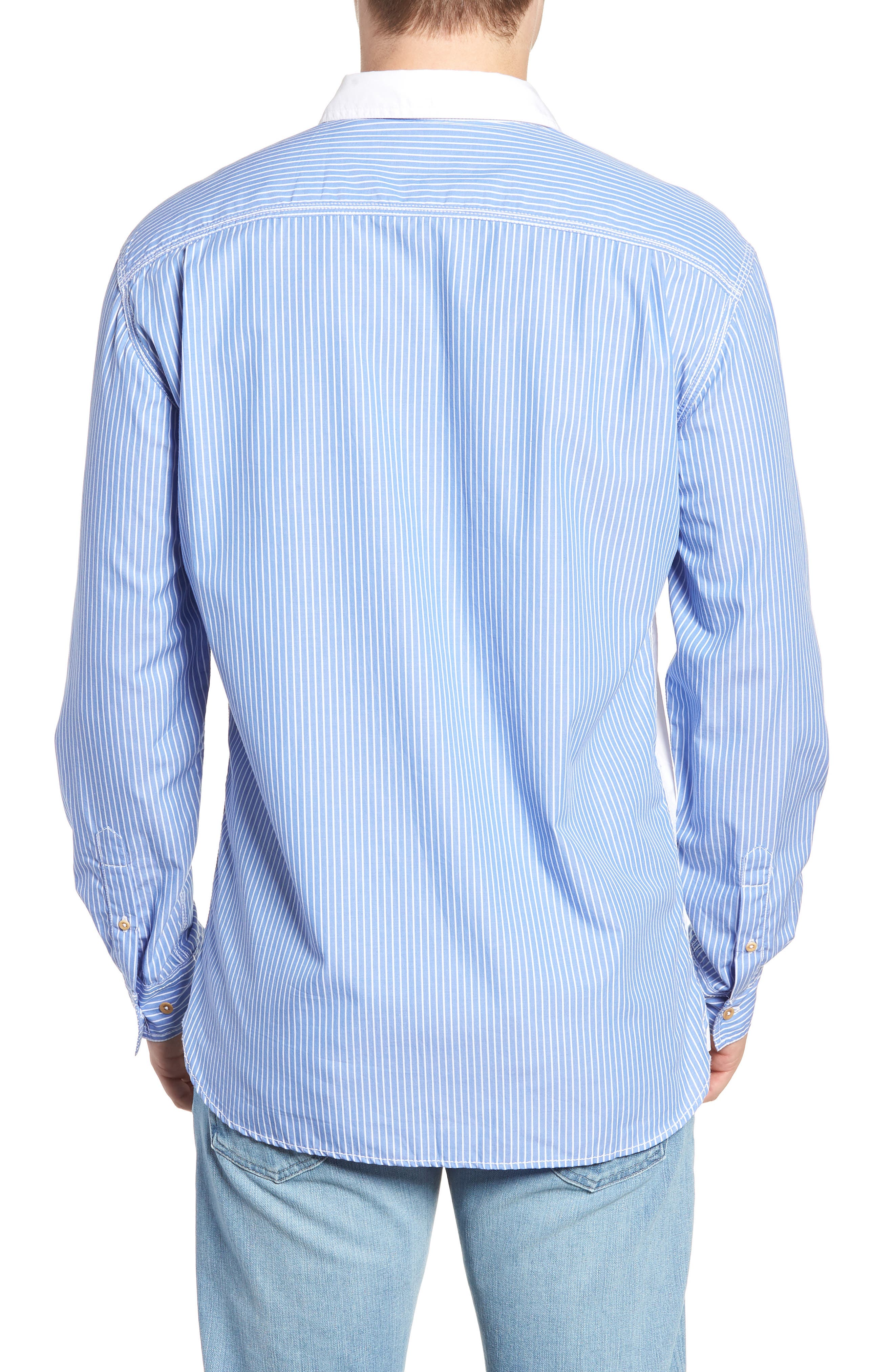Stripe Hybrid Sport Shirt,                             Alternate thumbnail 2, color,                             WHITE RICH BLUE