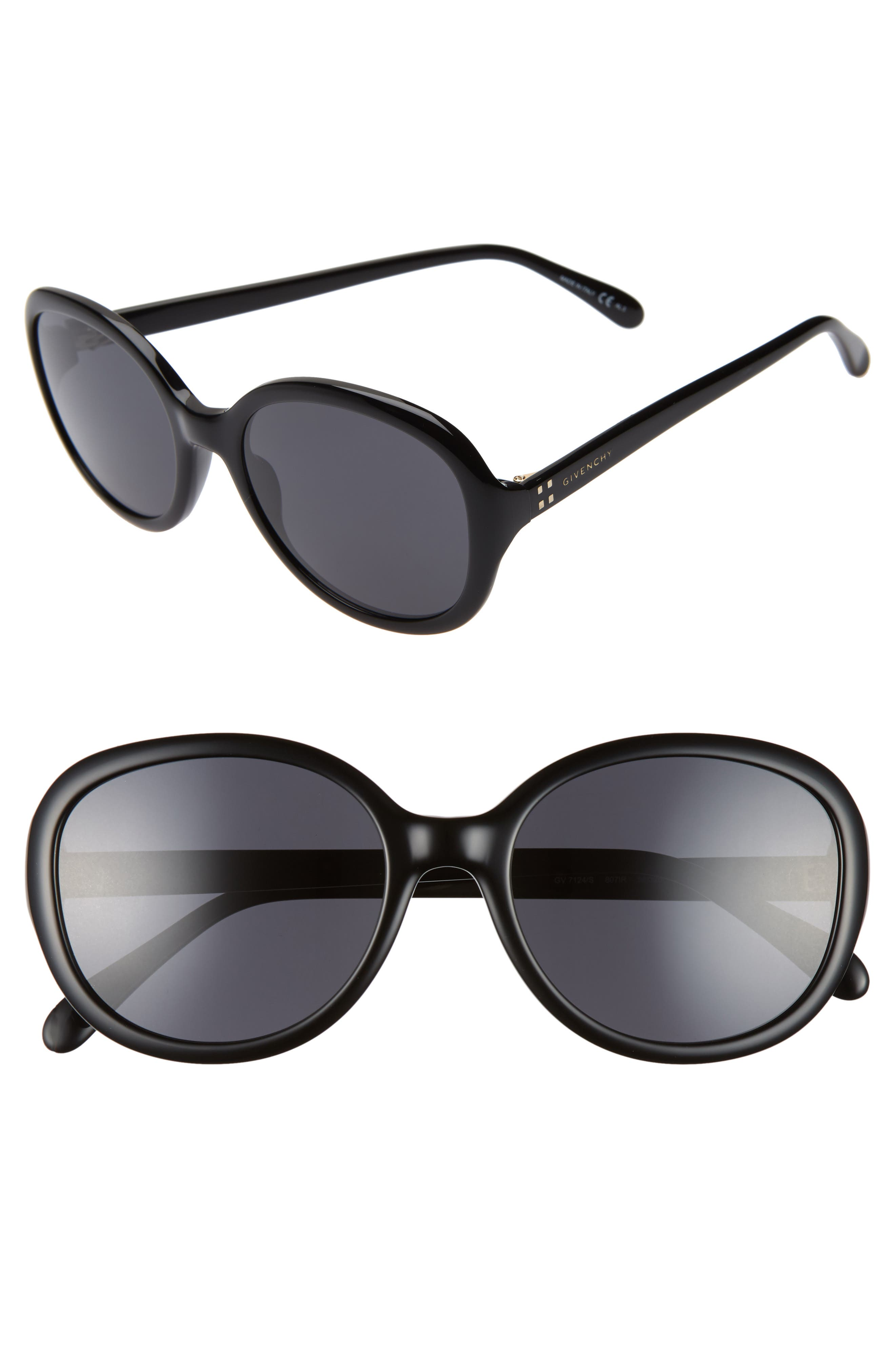56mm Round Sunglasses, Main, color, BLACK