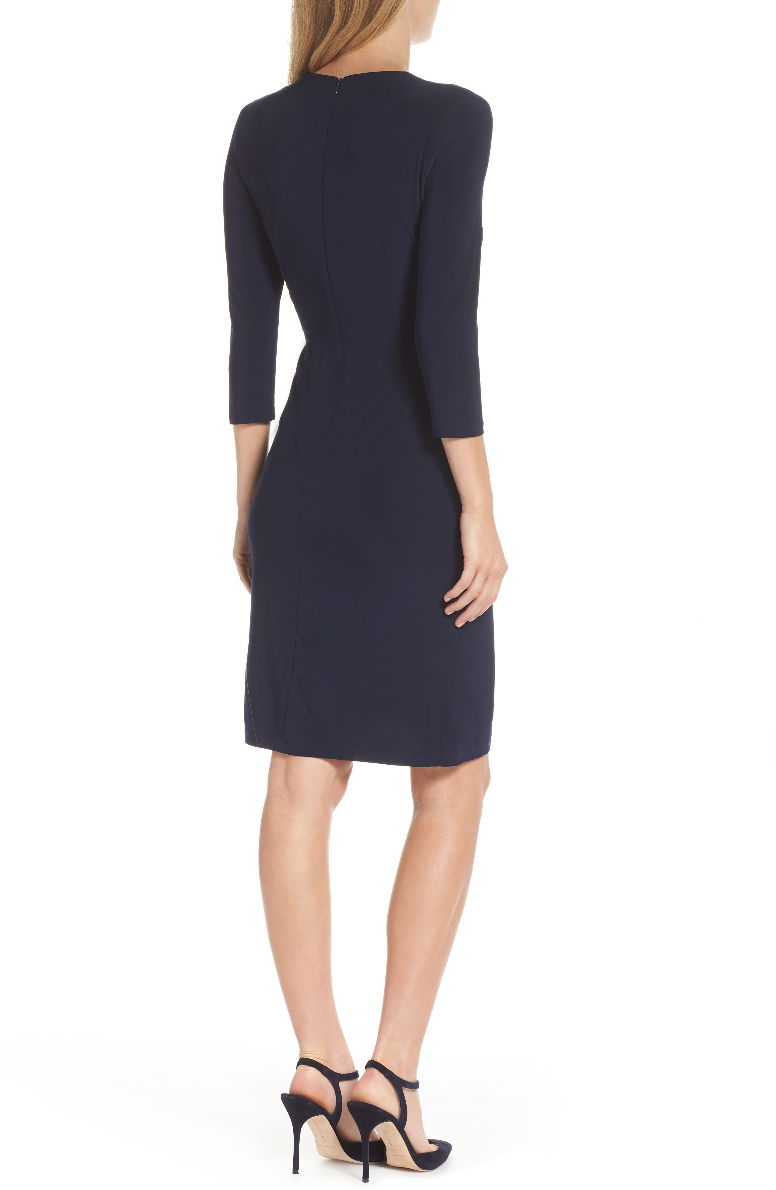 Ruched Jersey Sheath Dress,                             Alternate thumbnail 2, color,                             NAVY
