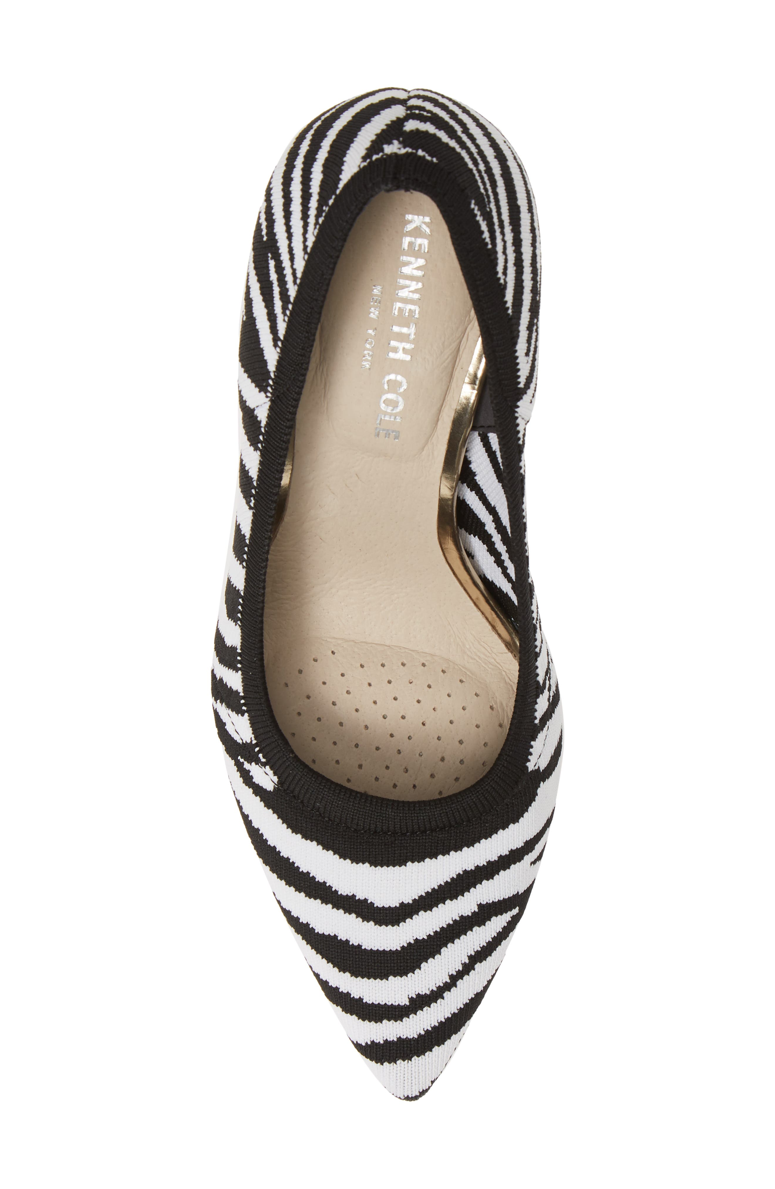 KENNETH COLE NEW YORK,                             Riley 85 Pump,                             Alternate thumbnail 5, color,                             BLACK/ WHITE KNIT