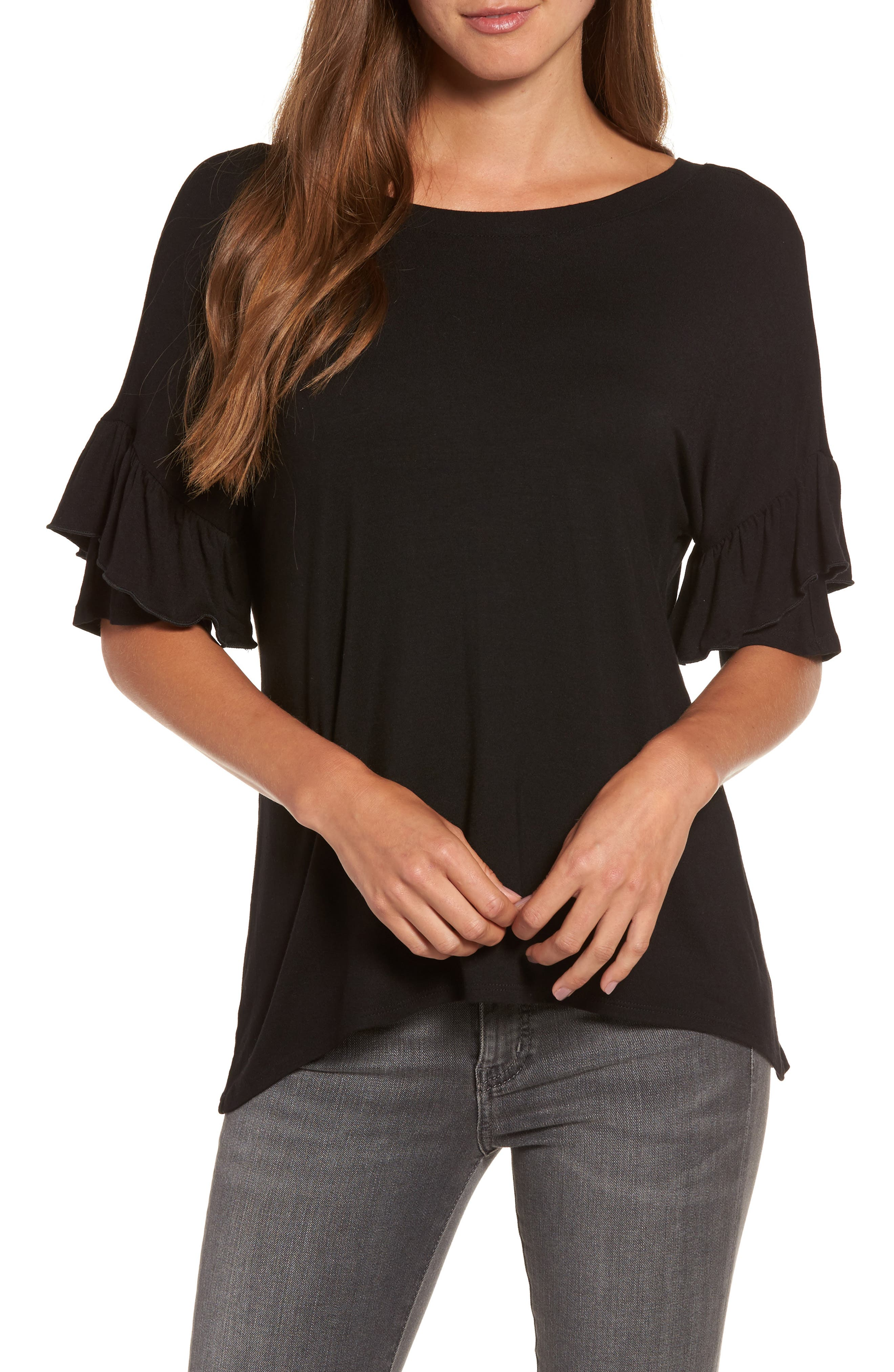 Ruffle Sleeve Tee,                         Main,                         color, 001