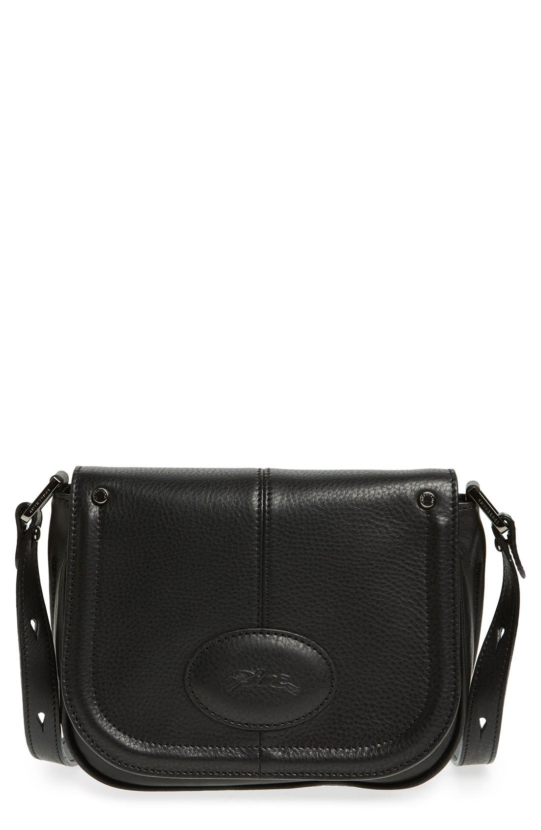 'Small Mystery' Leather Crossbody Bag,                             Main thumbnail 1, color,                             001