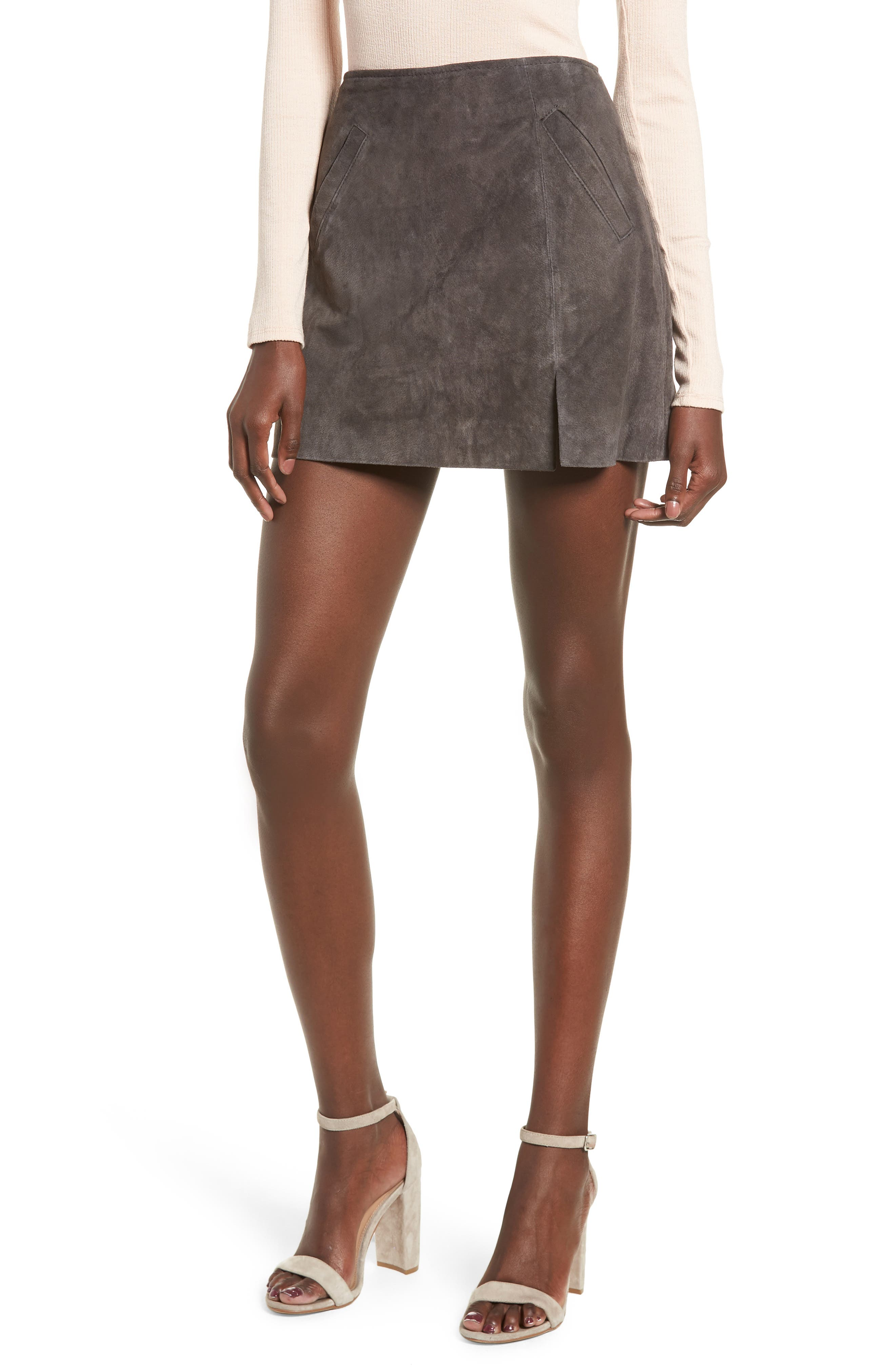 Suede Miniskirt,                             Main thumbnail 1, color,                             020